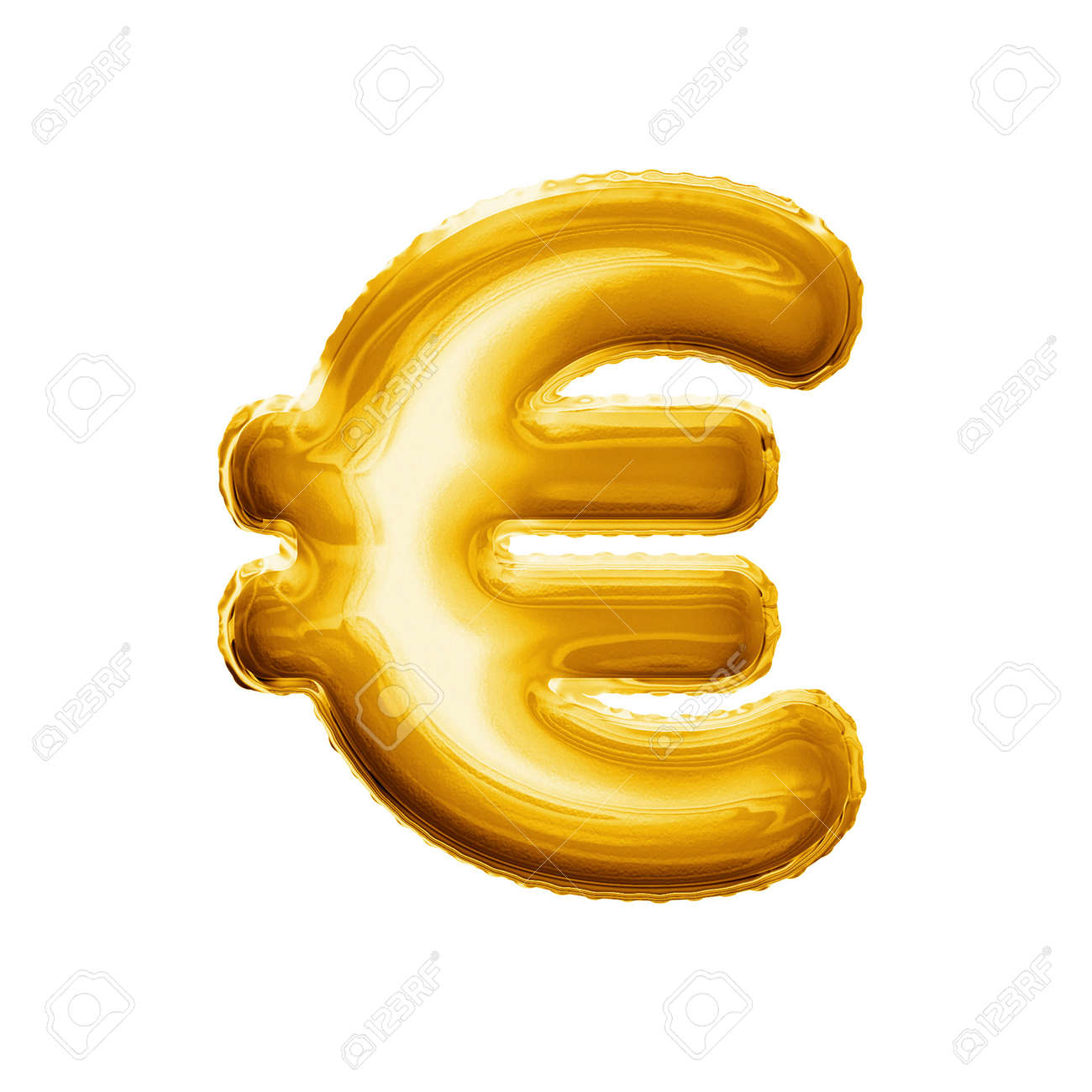 Balloon Euro Currency Symbol Realistic 3d Isolated Gold Helium