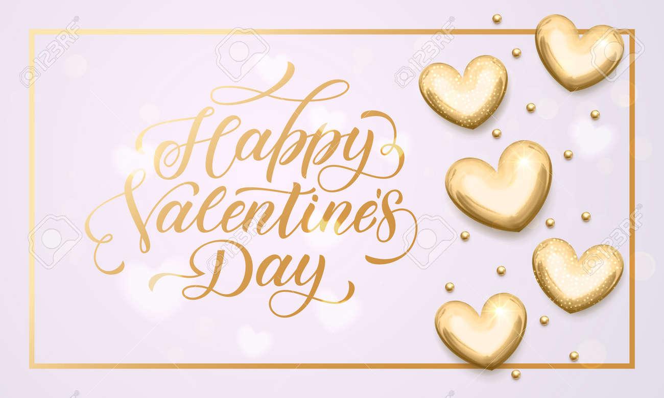 Letras De Texto De Oro Del Día De San Valentín De Vector Con ...