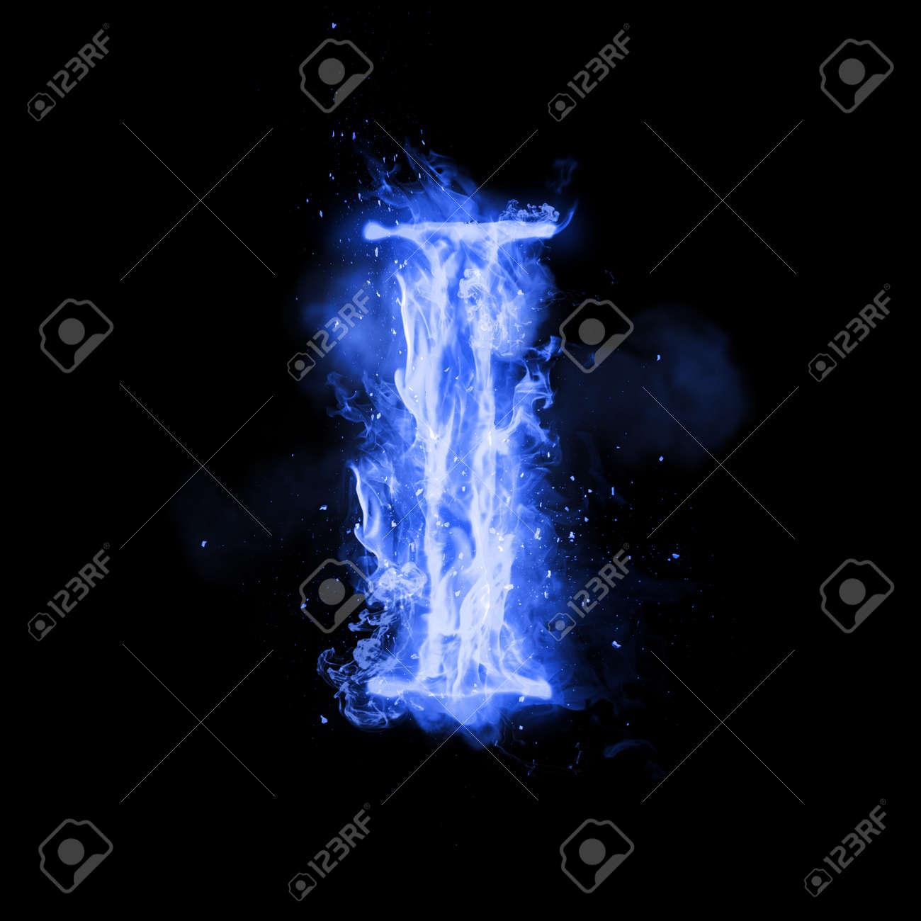 Fire Letter I Of Burning Blue Flame Flaming Burn Font Or Bonfire