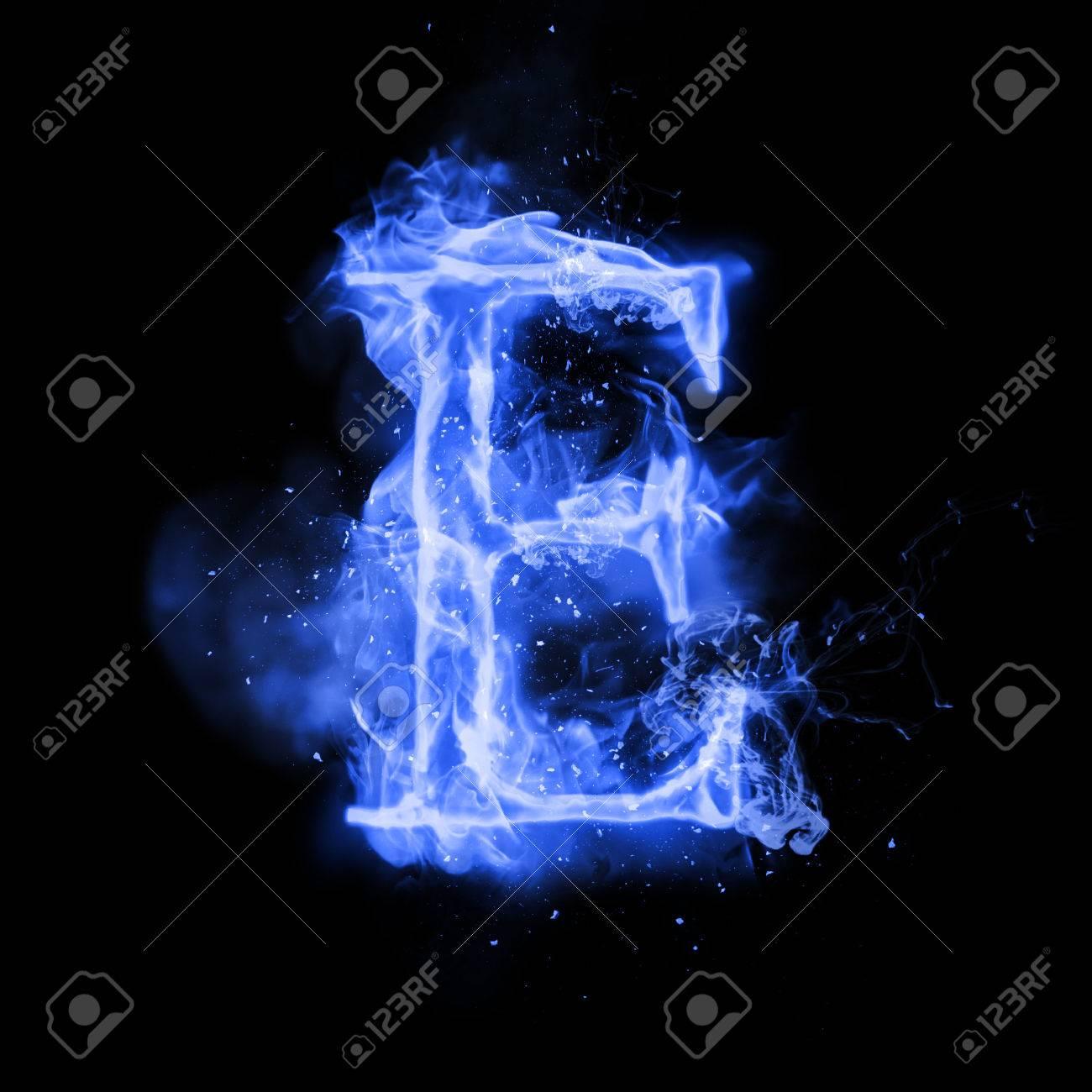 Fire Letter E Of Burning Blue Flame Flaming Burn Font Or Bonfire