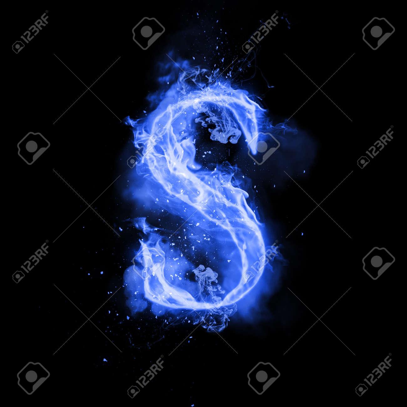 Fire Letter S Of Burning Blue Flame Flaming Burn Font Or Bonfire