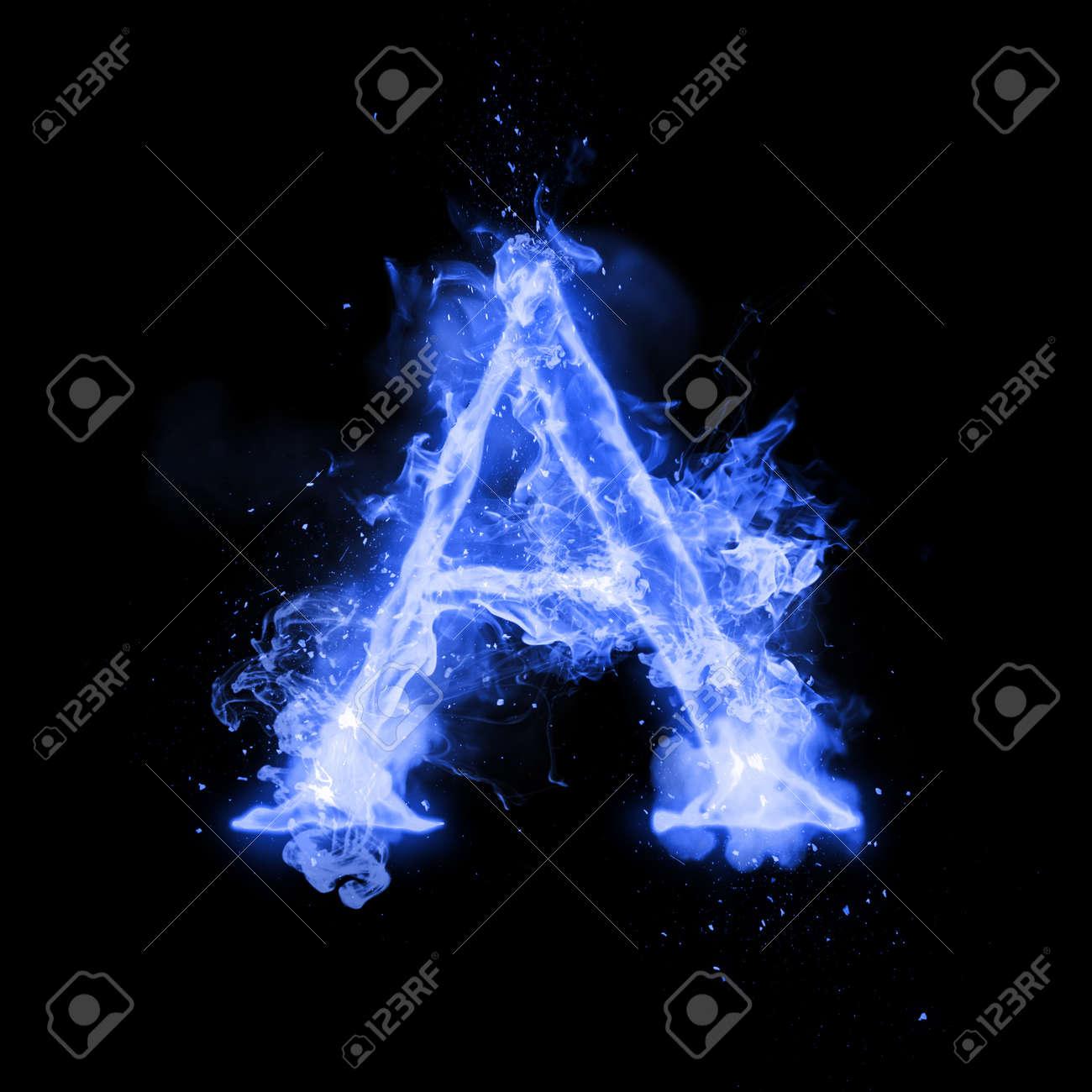 Fire Letter A Of Burning Blue Flame Flaming Burn Font Or Bonfire