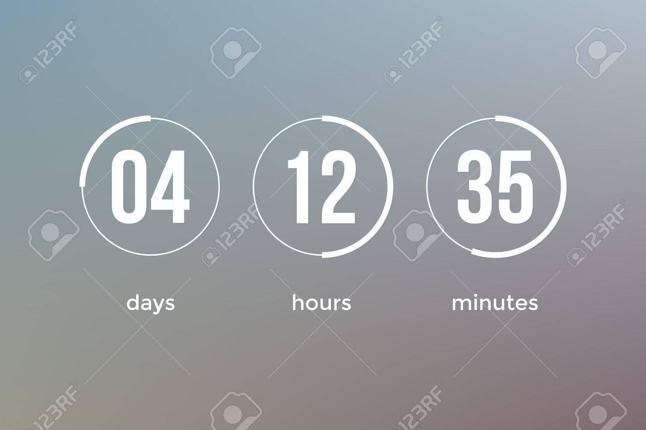 Countdown Web Site Vector Flat Template Digital Clock Timer