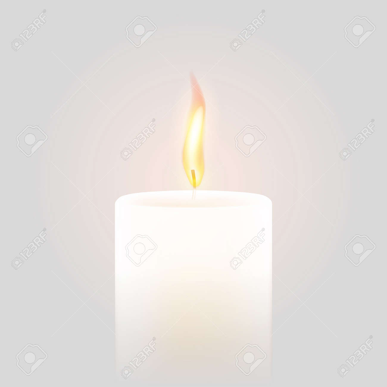 Candle flame burning on vector white background  3D realistic
