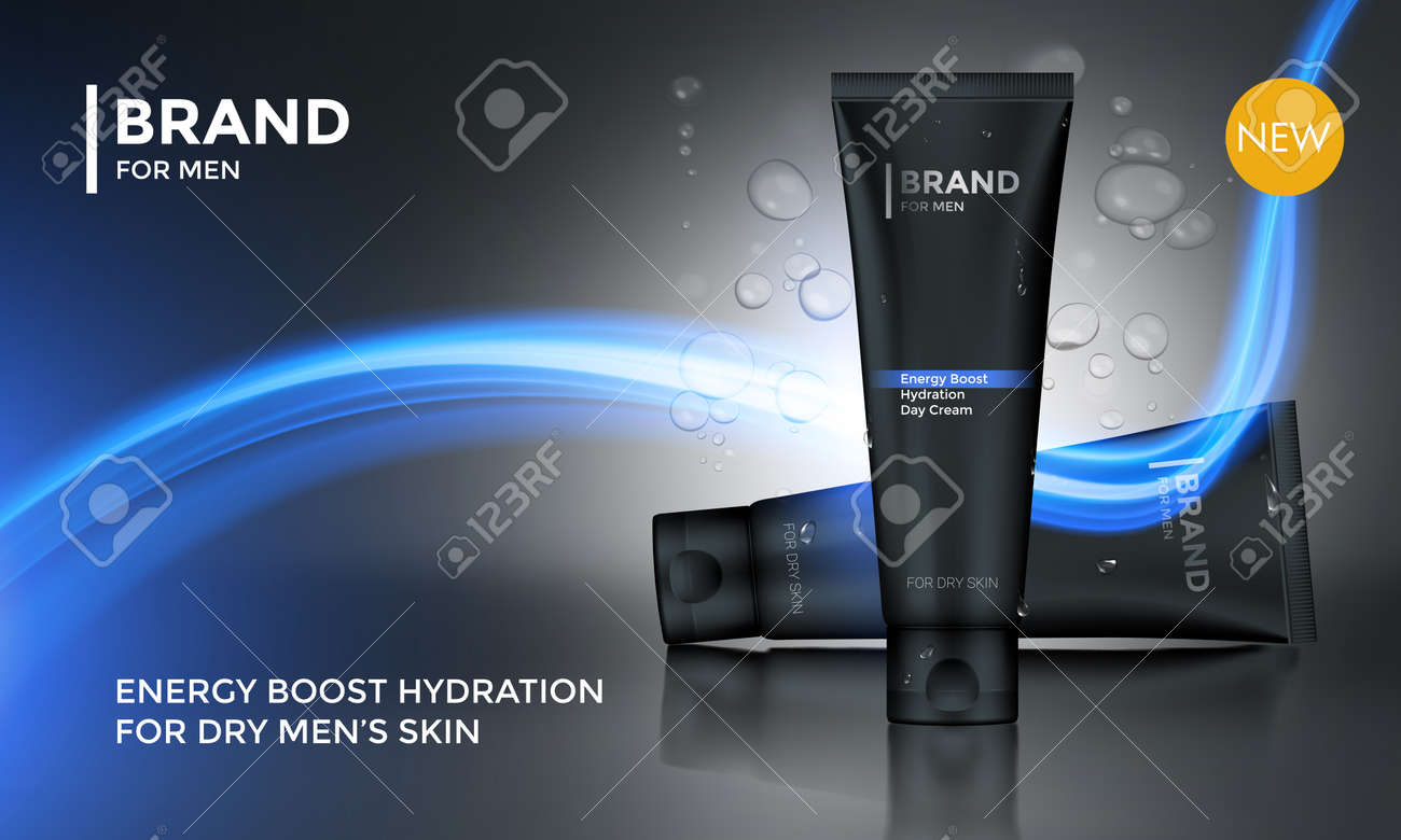 Cosmetic package advertising vector template for Men skin care face cream or after shave moisturizer lotion tube on premium background for product design - 74077942