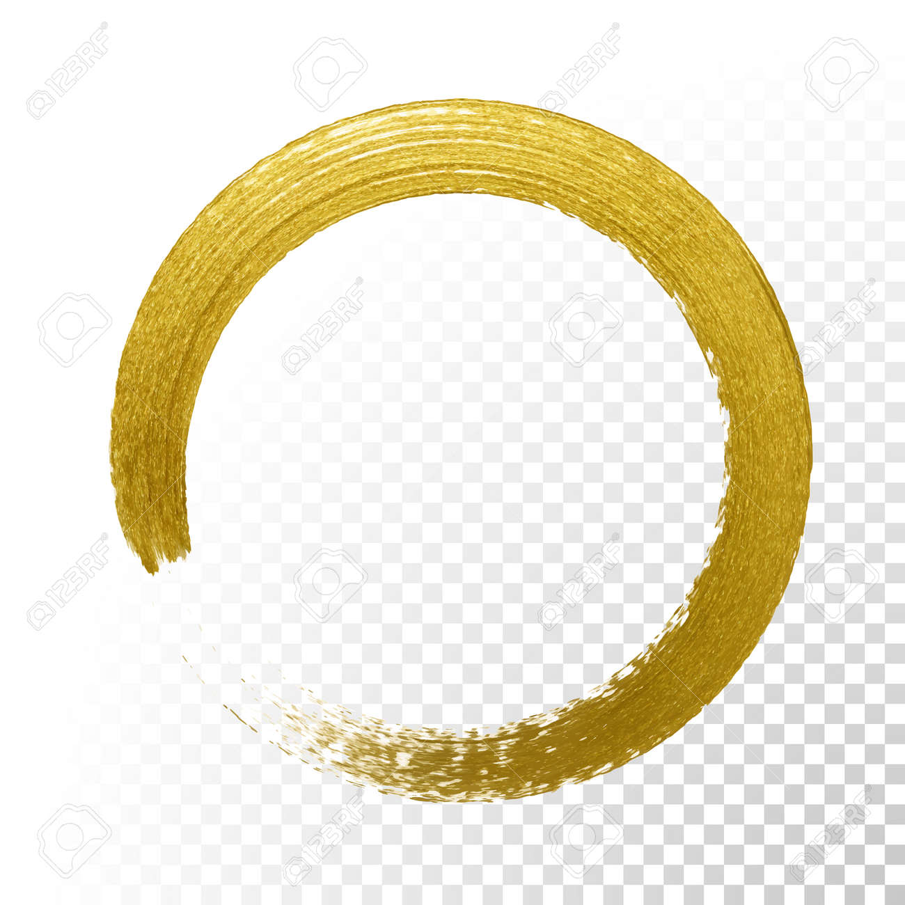 gold glitter circle with vector golden paint brush texture on