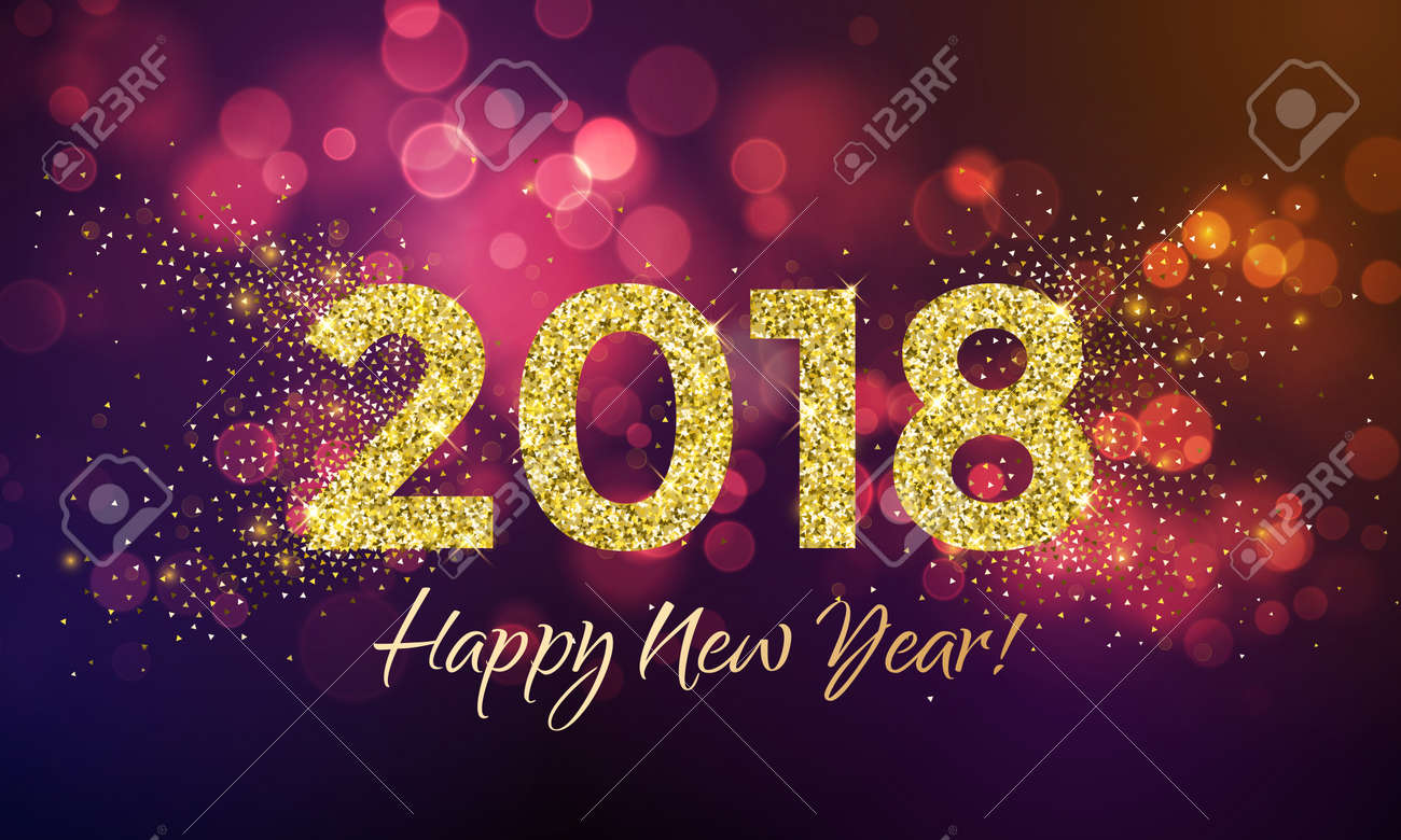 2018 happy new year background texture with gold glitter blur snowflakes vector greeting text for