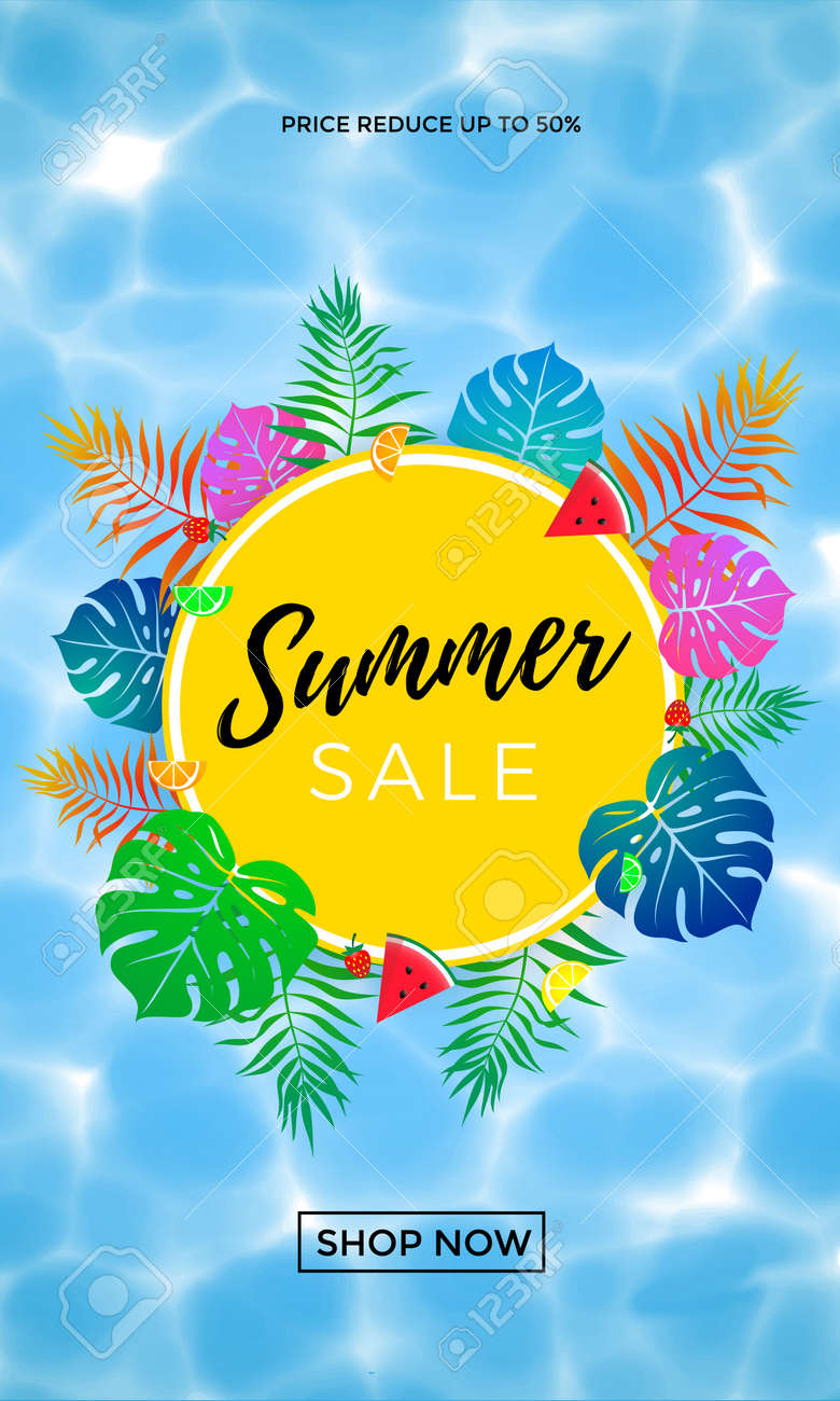0dc2170b625 Summer sale discount promo poster or banner for seasonal shopping 50  percent discount of pal leaf