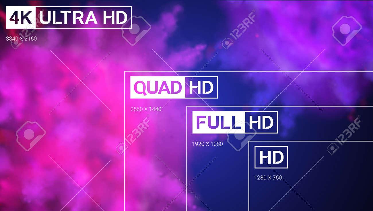 8K Ultra HD, 4K UHD, Quad HD, Full HD Y Resolución HD Marco De La ...
