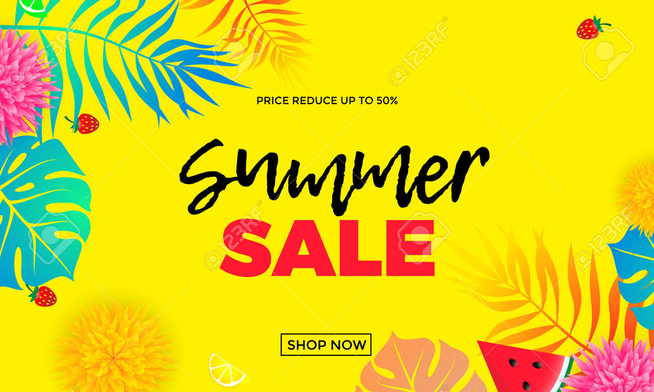 be610534cba Summer sale and special offer shop banner template with palm leaf pattern  bright color background.