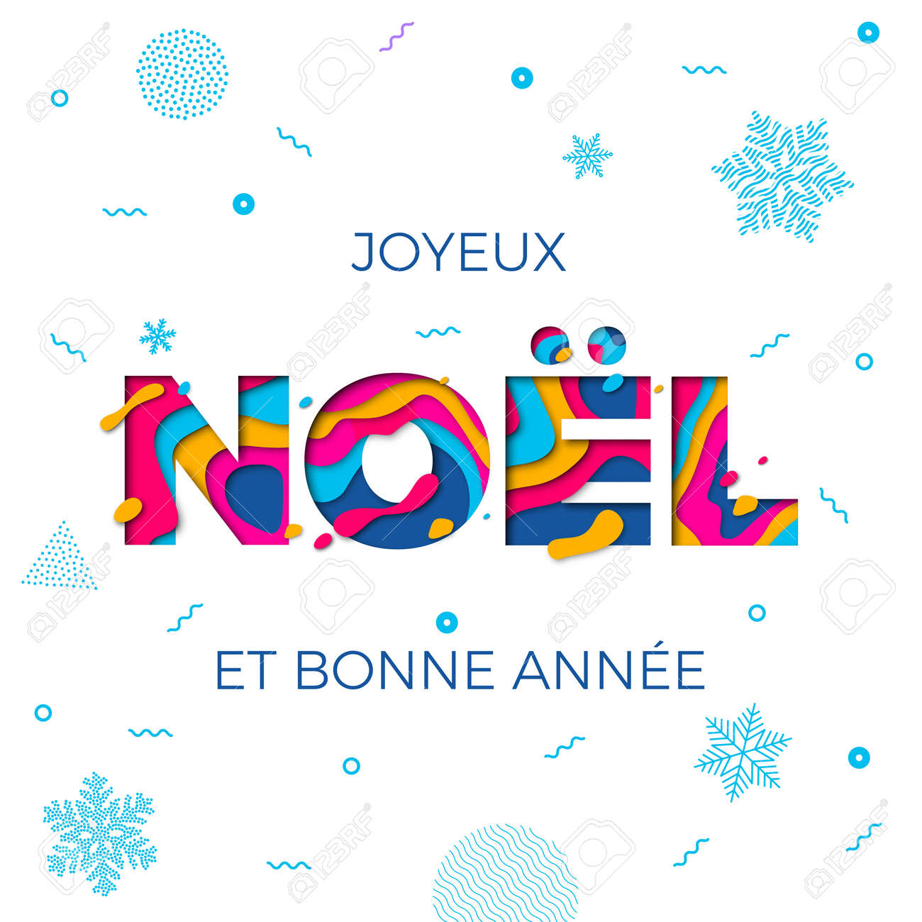 Joyeux Noel Merry Christmas French Greeting Card Background ...