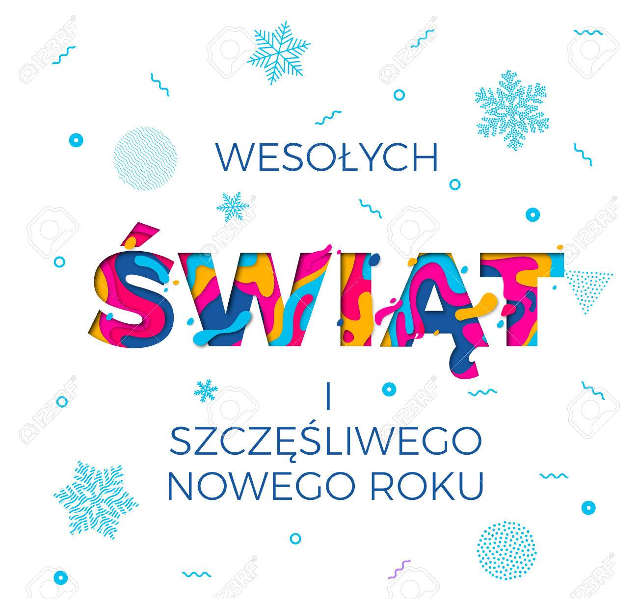 Wesolych swiat merry christmas and nowego roku happy new year vector wesolych swiat merry christmas and nowego roku happy new year polish greeting card white background for wish poster vector winter holiday paper m4hsunfo