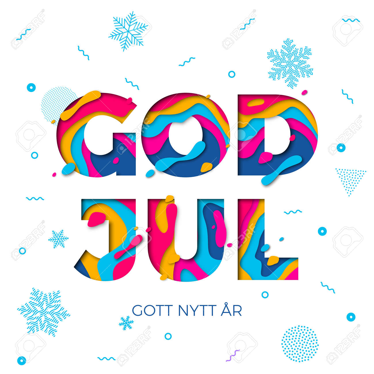god jul merry christmas and gott nytt ar happy new year swedish greeting card white background