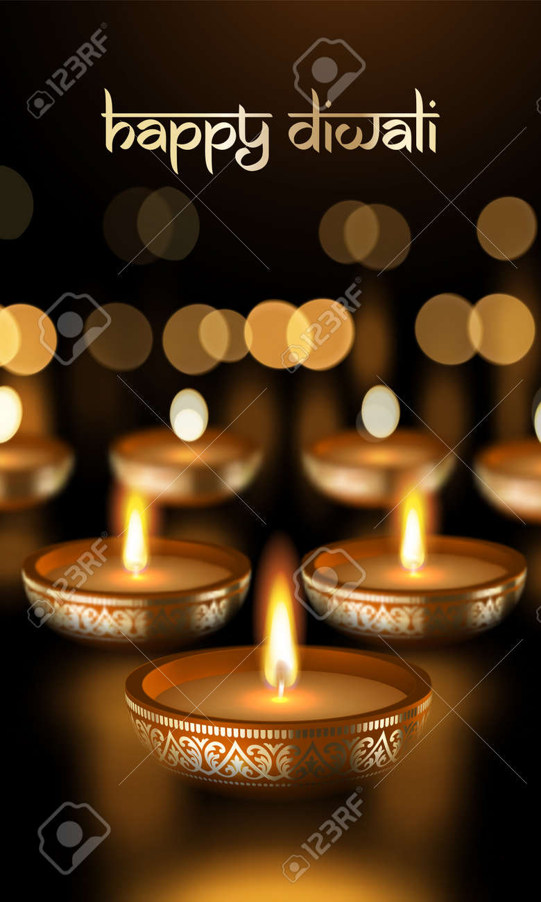 Happy diwali festival of lights holiday greeting card template happy diwali festival of lights holiday greeting card template of gold candle light flame on golden m4hsunfo