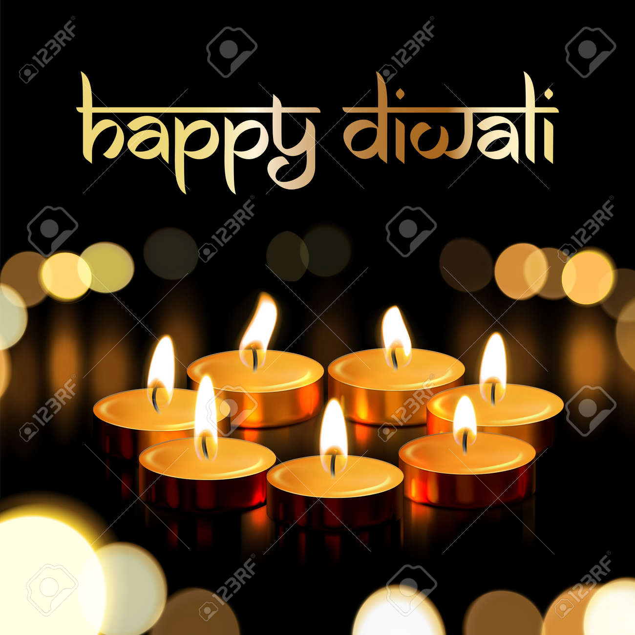 Happy diwali indian greeting card for traditional festival of happy diwali indian greeting card for traditional festival of lights holiday deepavali vector gold candle m4hsunfo
