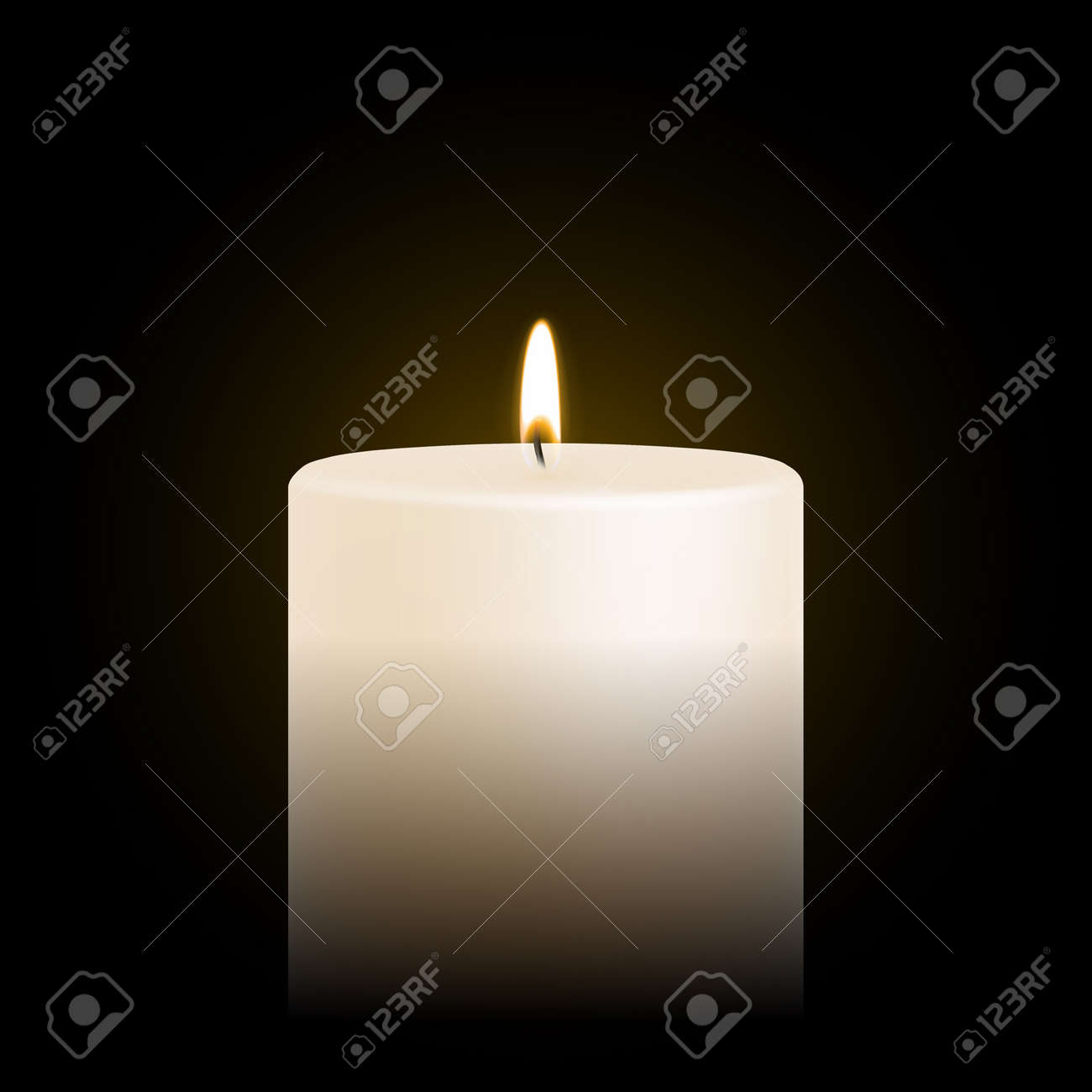 Candle light or candlelight flame isolated 3D icon on black background