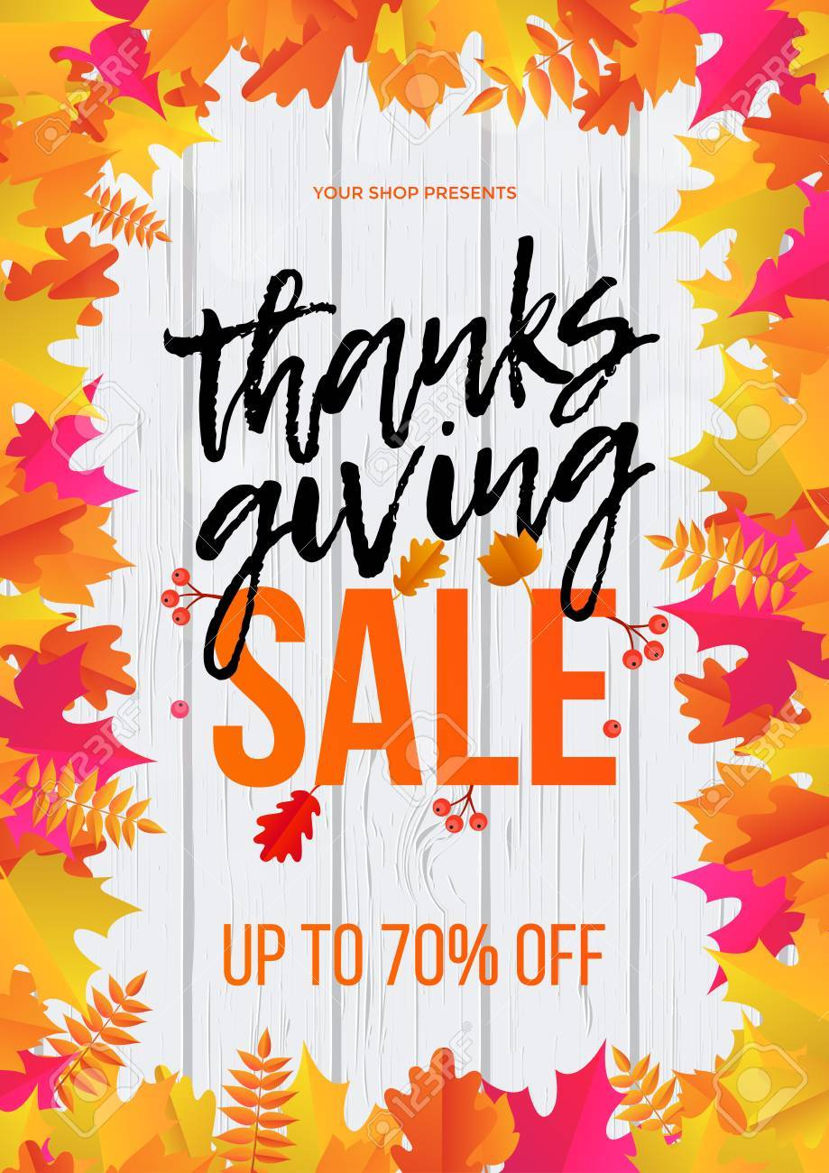 Thanksgiving Autumn Shop Sale Web Banner Or Store Promo Discount Royalty Free Cliparts Vectors And Stock Illustration Image 86852976