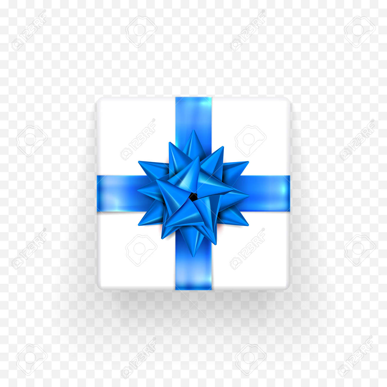 gift box with blue bow ribbon design template for birthday new year or christmas holiday