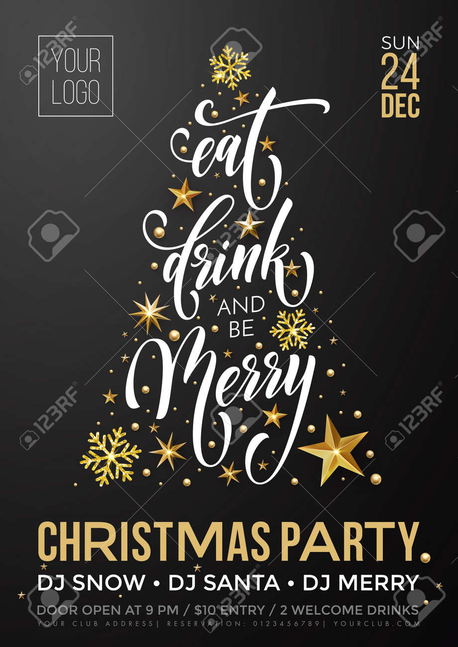 Christmas party invitation poster template of golden New Year decoration, Christmas tree of gold glitter star and snowflakes on premium black background. Vector calligraphy text for winter holiday - 88086300