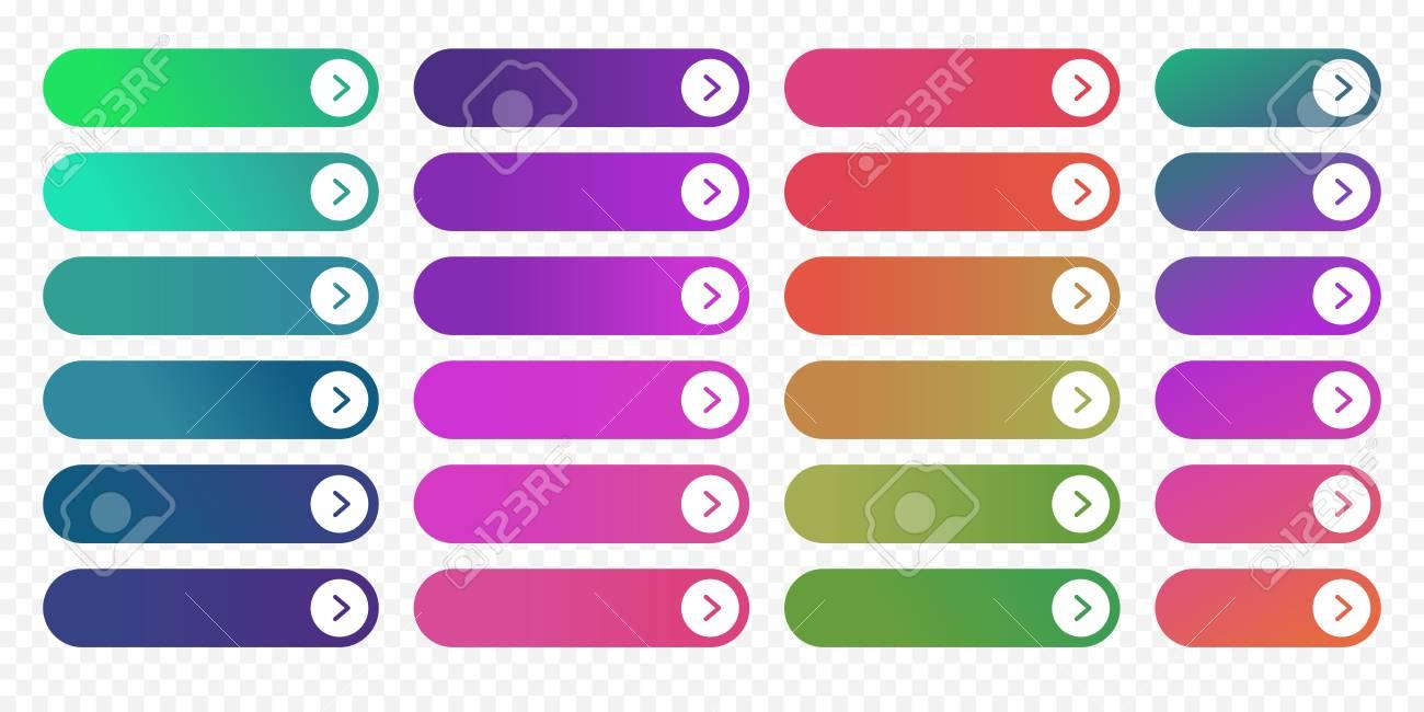 a08716b196a62 Plantilla De Diseño Plano De Botones Web Con Degradado De Color Y Estilo De  Contorno De Línea Delgada. Vector Aislado Rectangular Página Web Redondeada  ...
