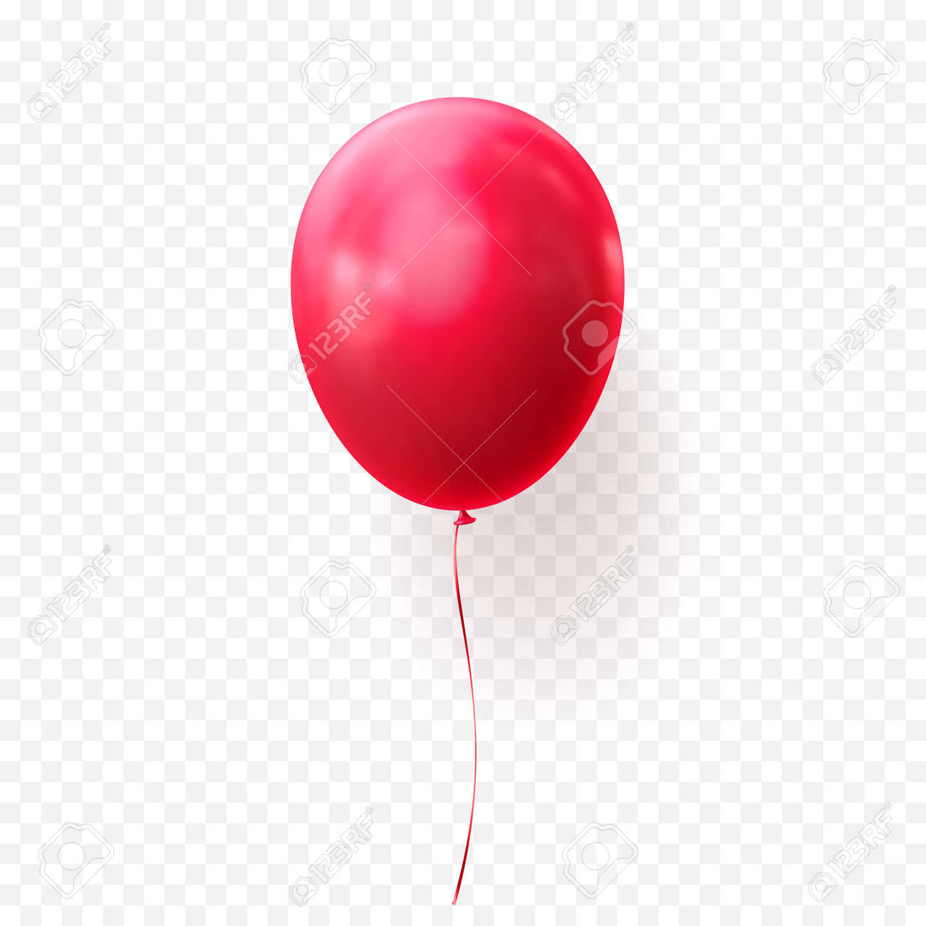 Red Balloon Vector Illustration On Transparent Background Glossy