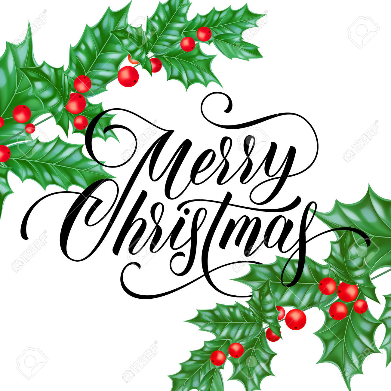 Merry Christmas Greeting Card Of Holy Leaf Branch On Winter Holiday ...