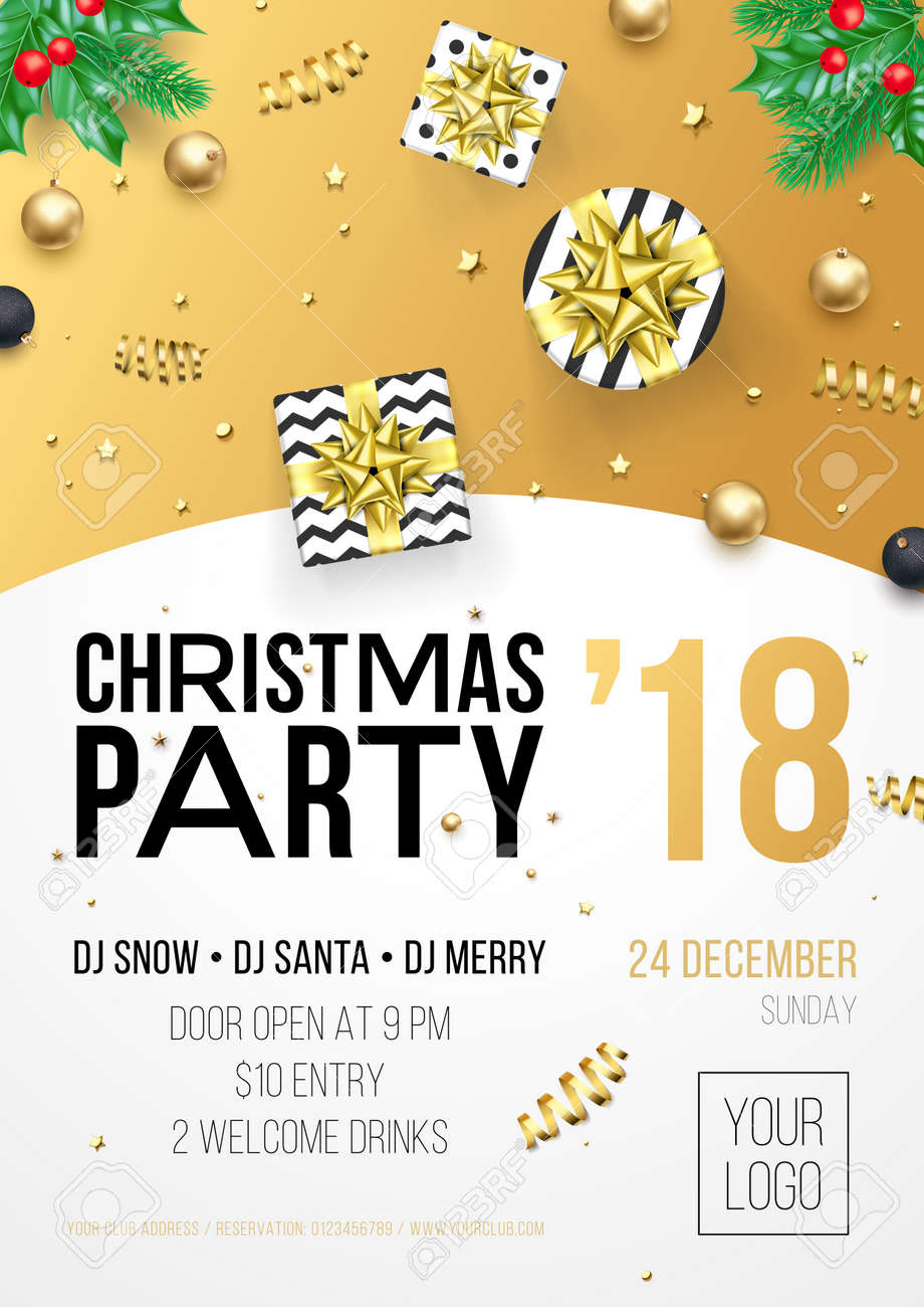christmas new year winter holiday party celebration poster or invitation flyer design template of golden