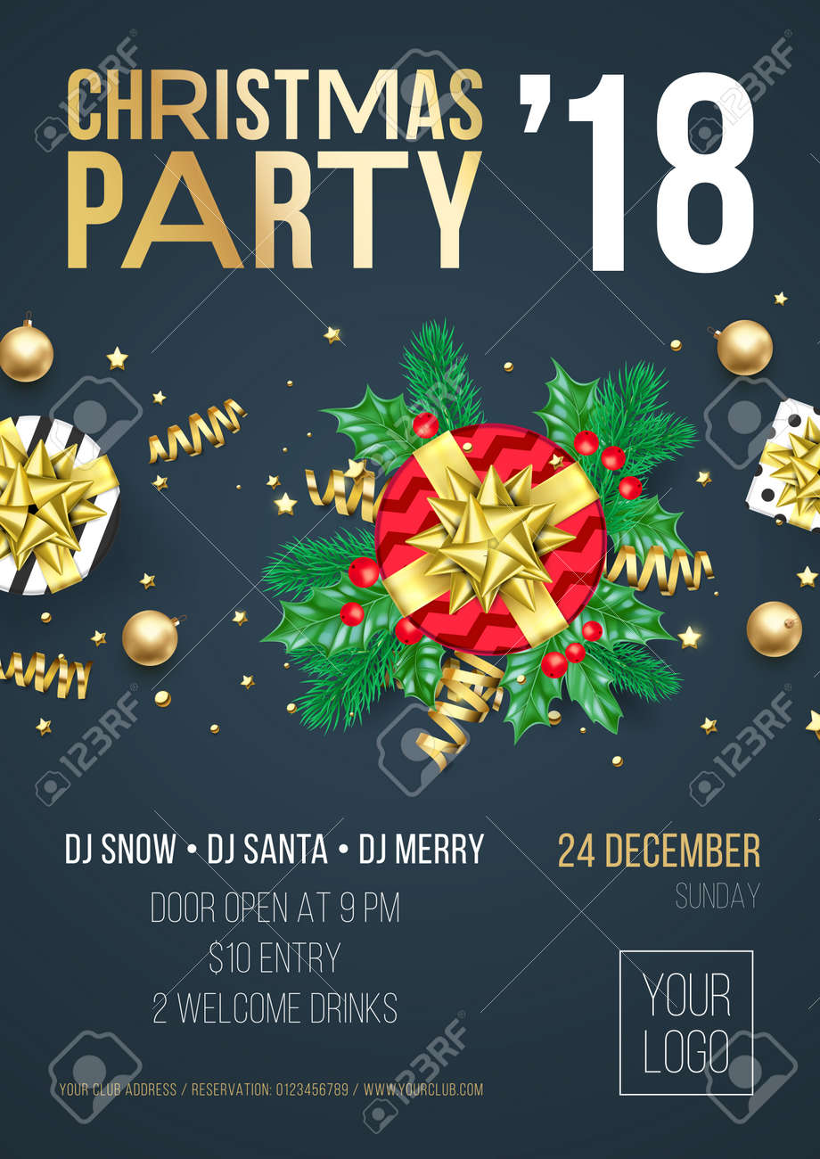 Welcome Christmas.Christmas Party Invitation Poster Or Welcome Banner Design Template