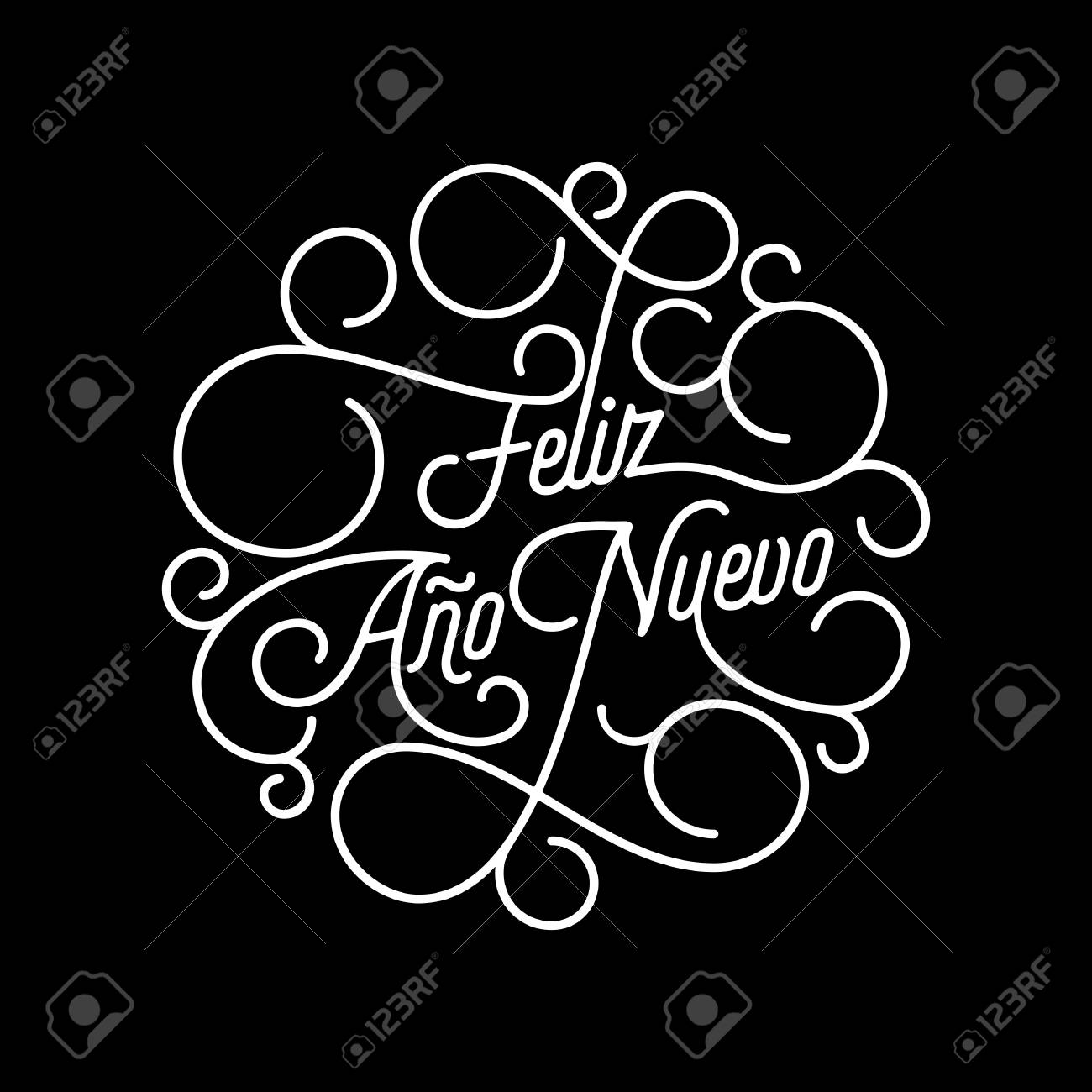feliz ano nuevo spanish happy new year flourish calligraphy lettering of swash line typography for greeting