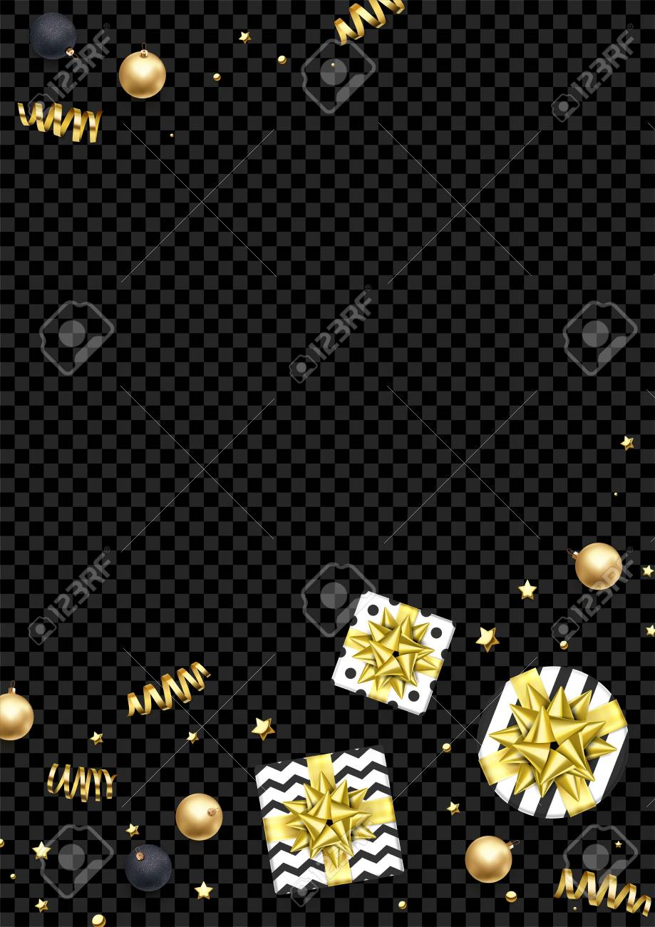 Christmas Greeting Card Template Background Of Golden Glitter