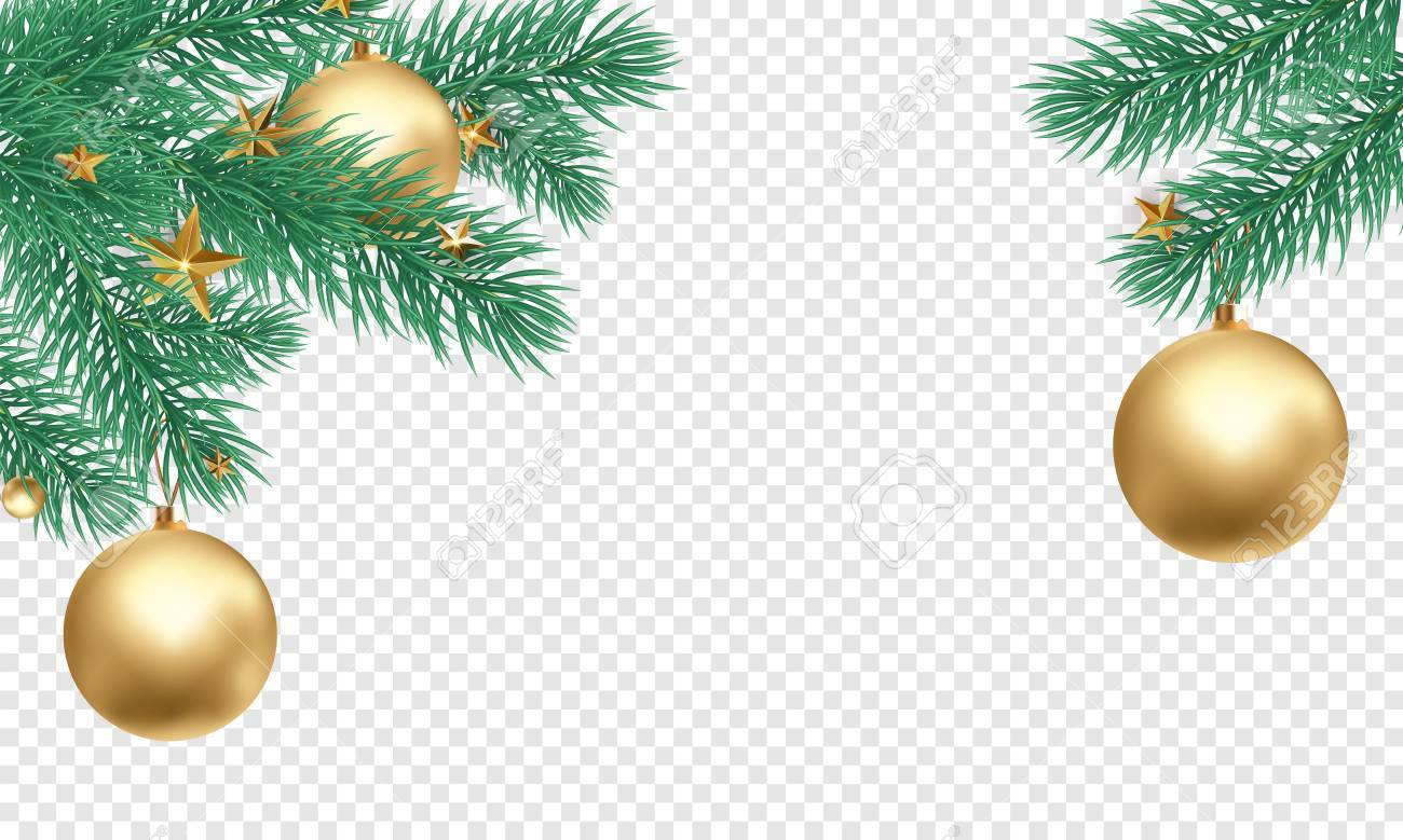 Christmas holiday greeting card background template of golden ball decorations on Christmas tree branches. Vector New Year gold glitter stars confetti on transparent luxury white background - 90159431