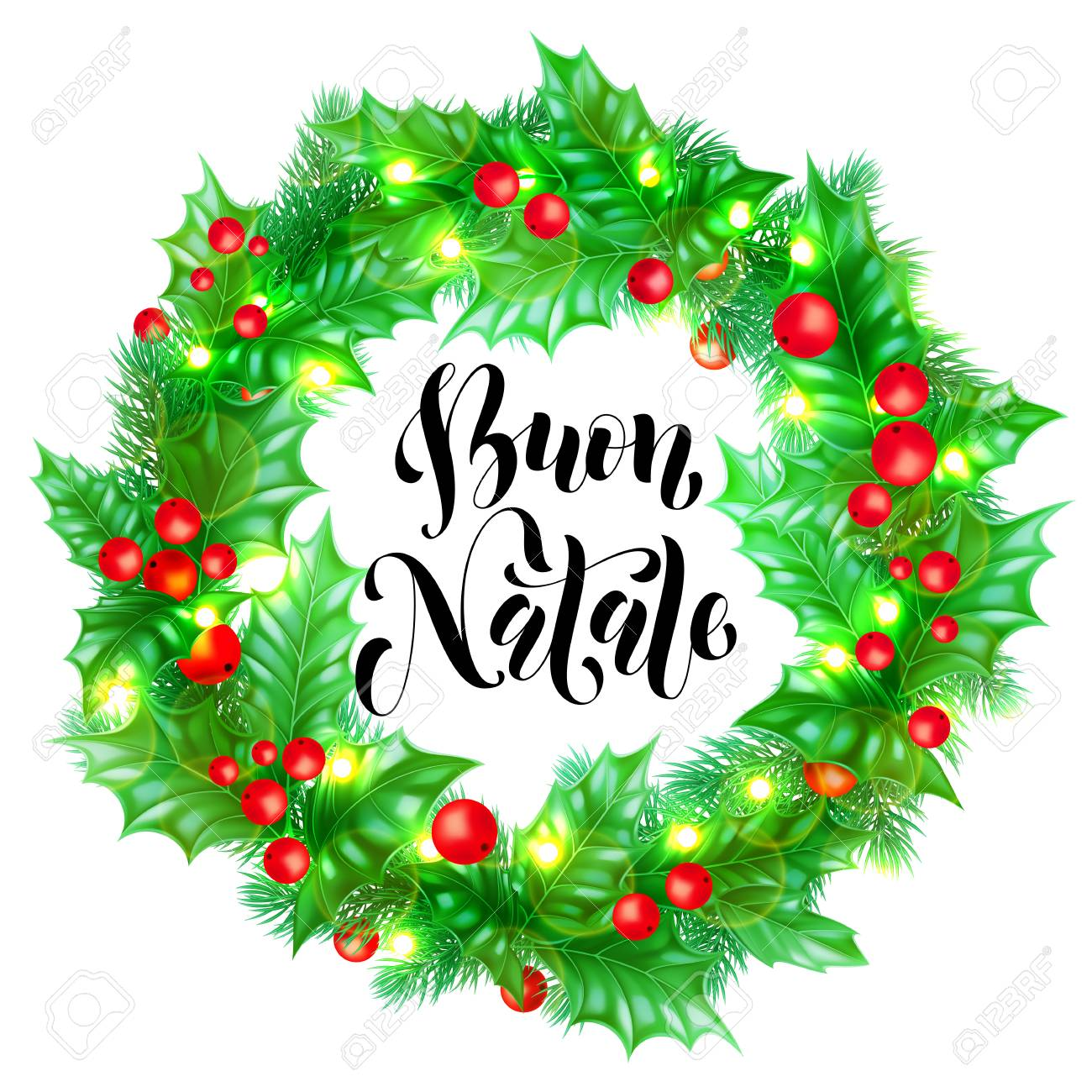 Immagini Natale Free.Buon Natale Italian Merry Christmas Holiday Hand Drawn Calligraphy