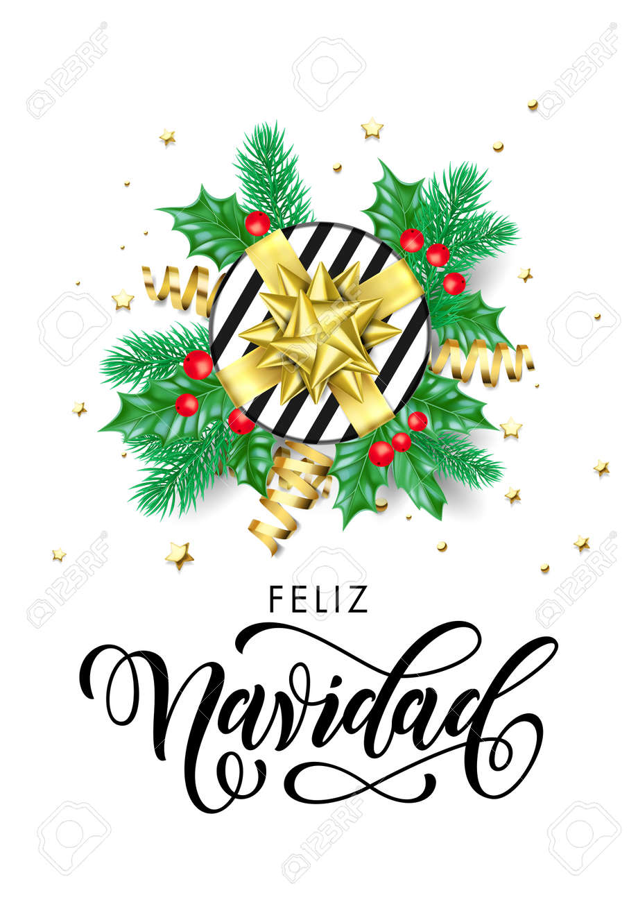 Feliz Navidad Cristmas.Feliz Navidad Spanish Merry Christmas Holiday Hand Drawn Calligraphy