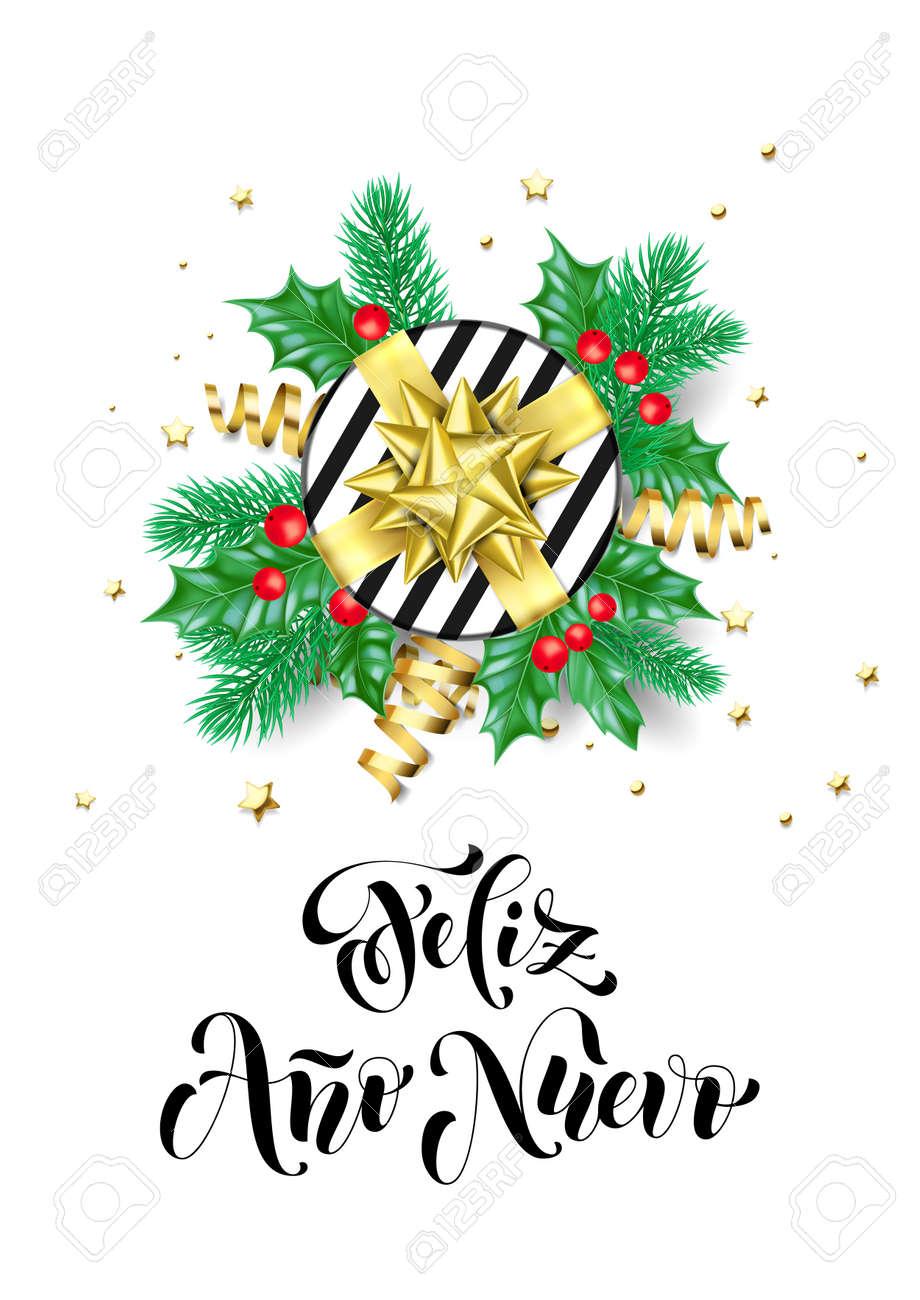 Feliz Ano Nuevo Spanish Happy New Year Calligraphy Hand Drawn ...
