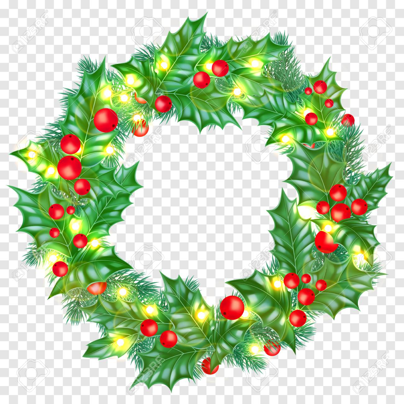 Christmas Greeting Card Template Background Of Holly Leaf Wreath