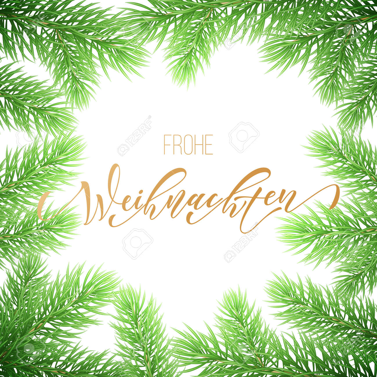 Frohe Weihnachten German Merry Christmas Holiday Golden Hand ...