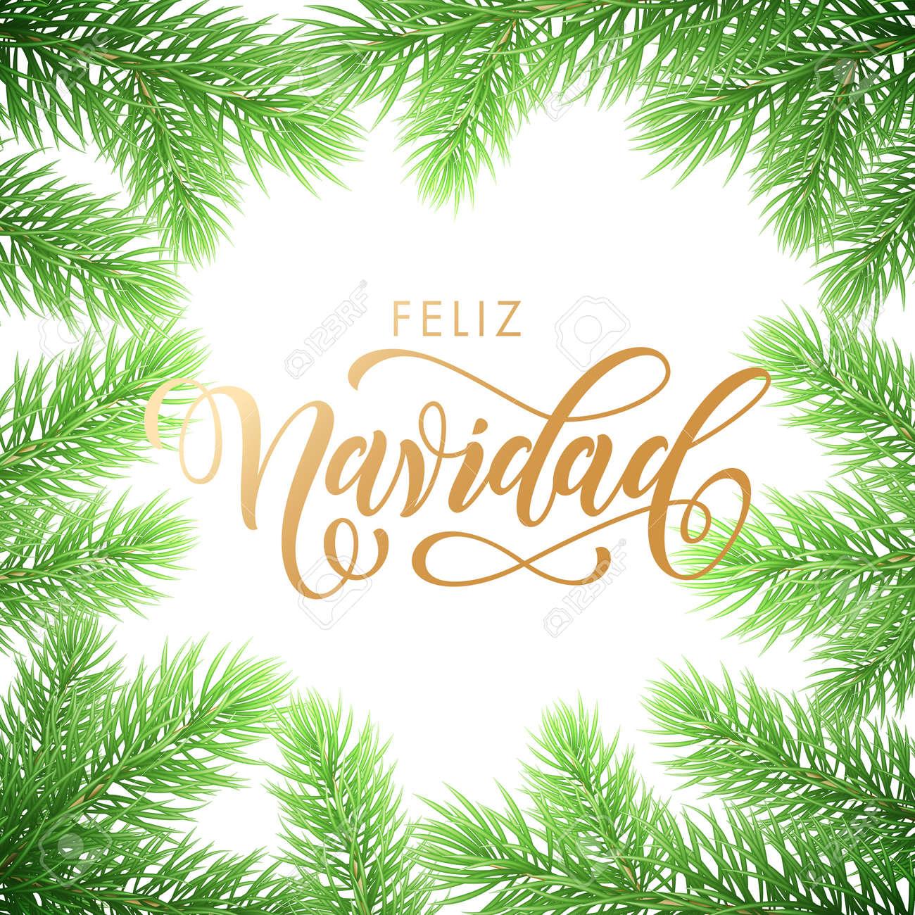 Feliz Navidad Cristmas.Feliz Navidad Spanish Merry Christmas Holiday Golden Hand Drawn