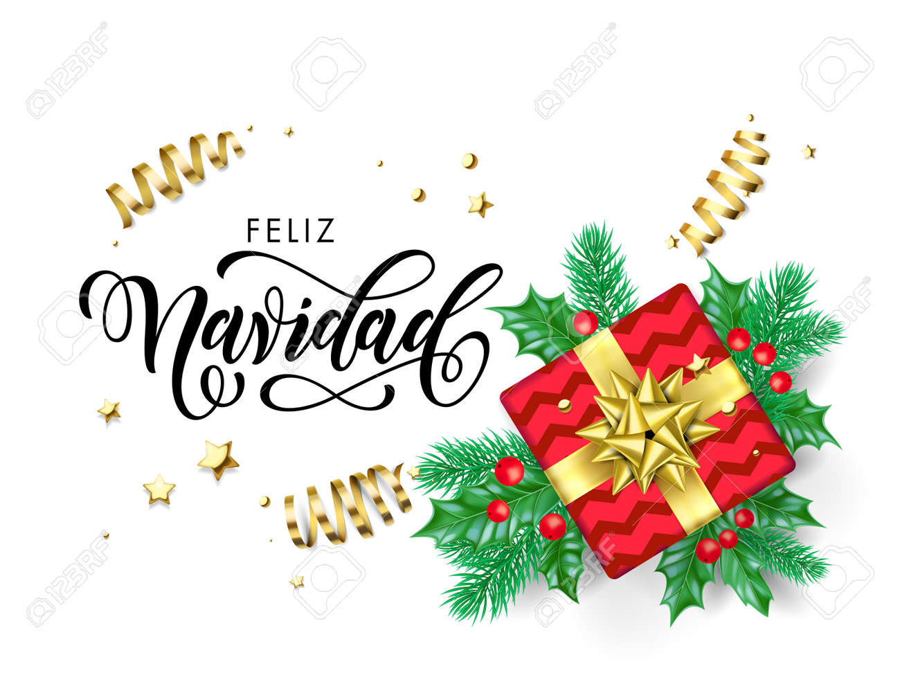 Christmas In Spanish.Feliz Navidad Merry Christmas Spanish Calligraphy Hand Drawn