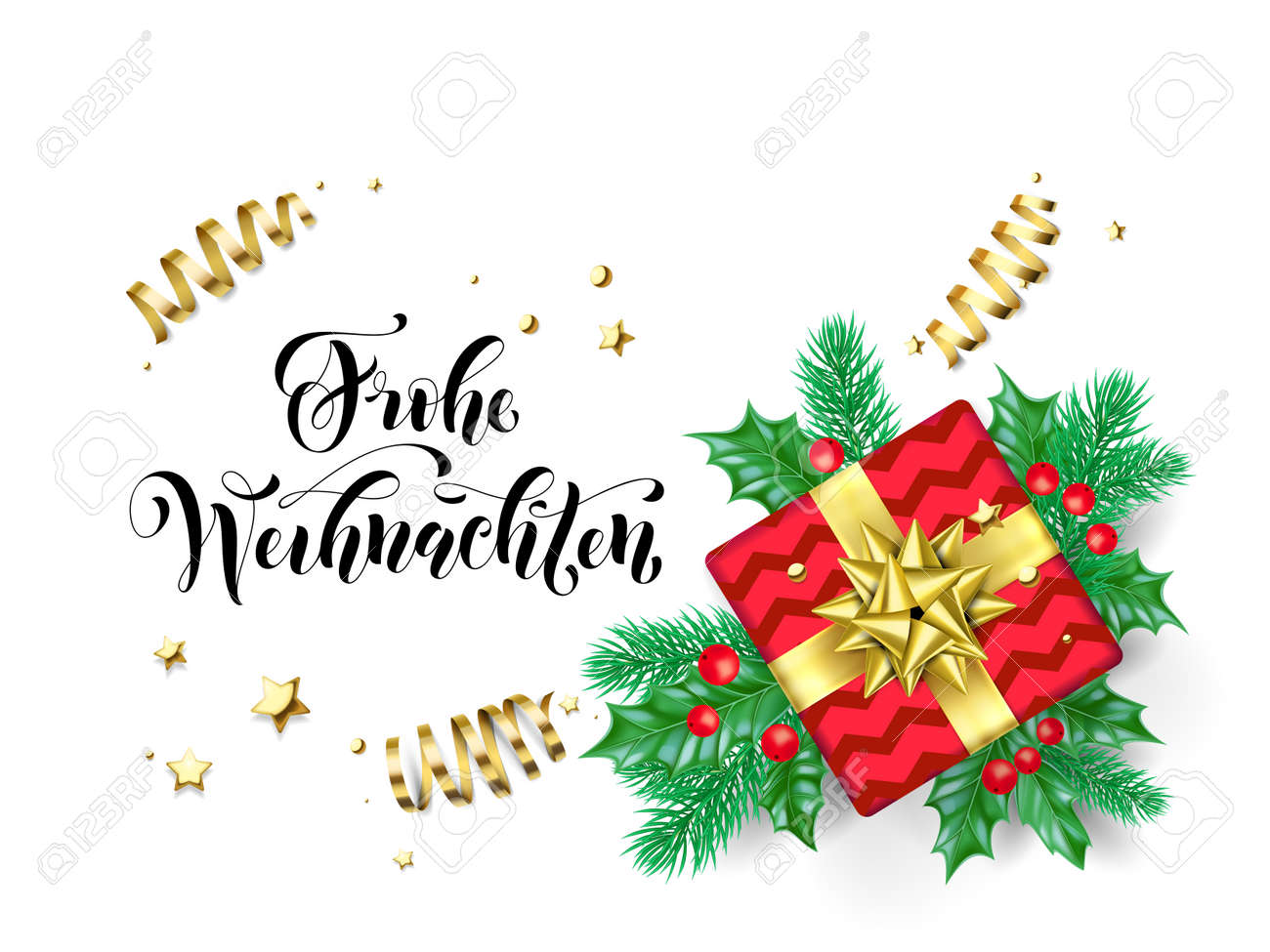 Merry Christmas German.Frohe Weihnachten Merry Christmas German Holiday Hand Drawn Quote
