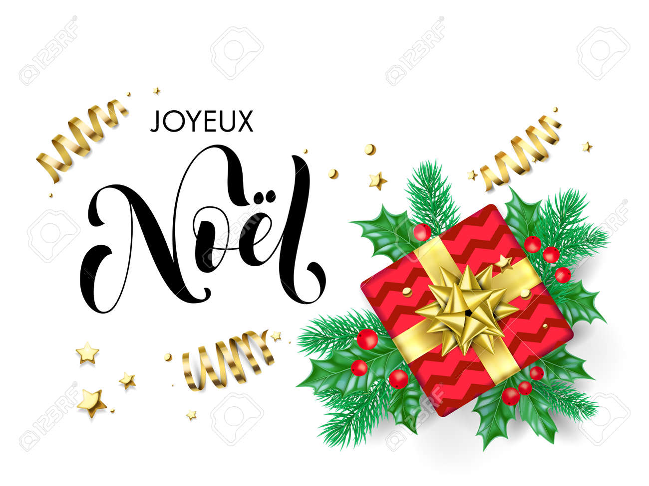 Joyeux Noel Clipart.Joyeux Noel Merry Christmas Frenchtrendy Quote Calligraphy On