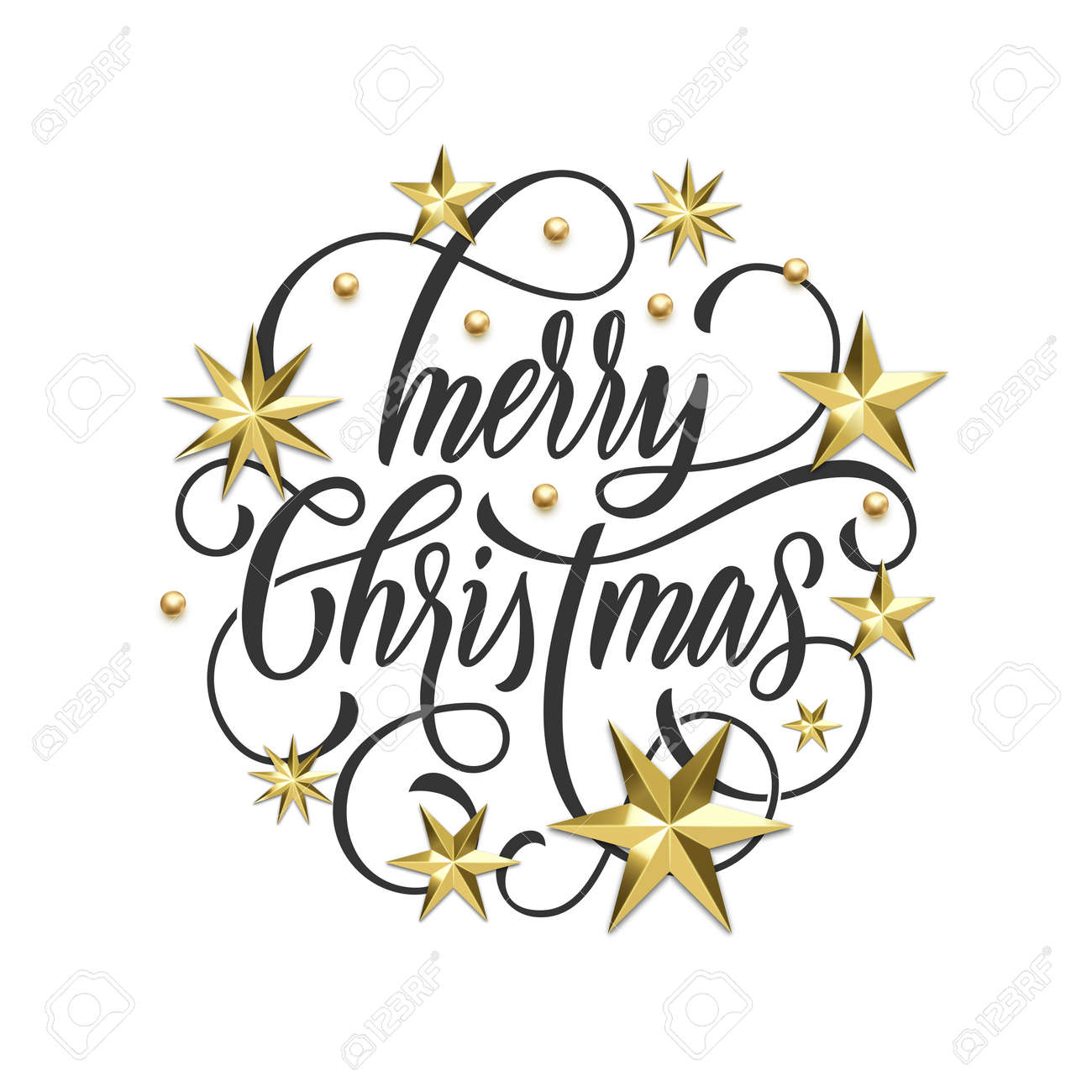 merry christmas golden decoration hand drawn calligraphy font