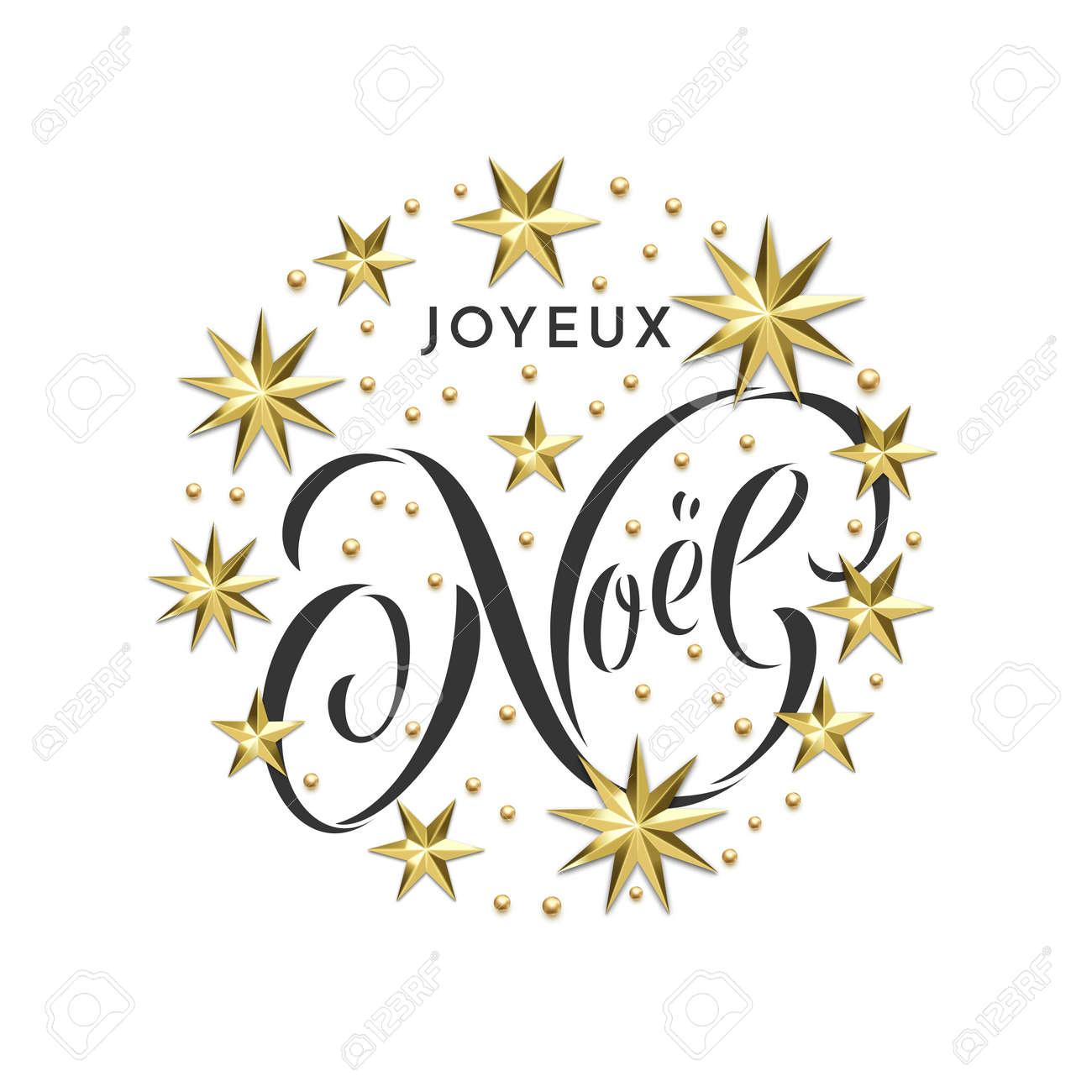 Joyeux Noel Französische Frohe Weihnachten Goldene Sterne Dekoration ...