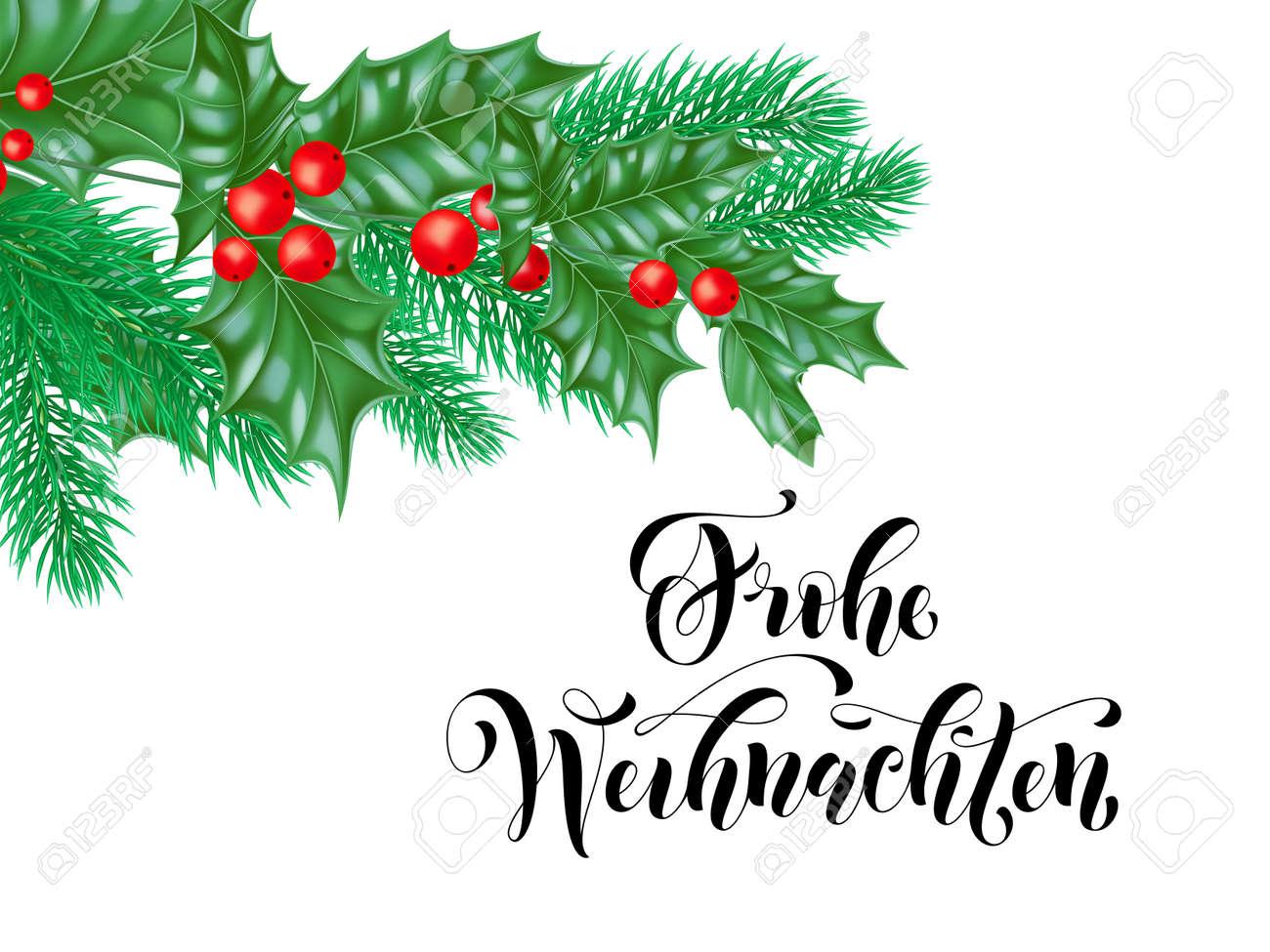 Weihnachten Clipart.Frohe Weihnachten German Merry Christmas Holiday Hand Drawn Calligraphy