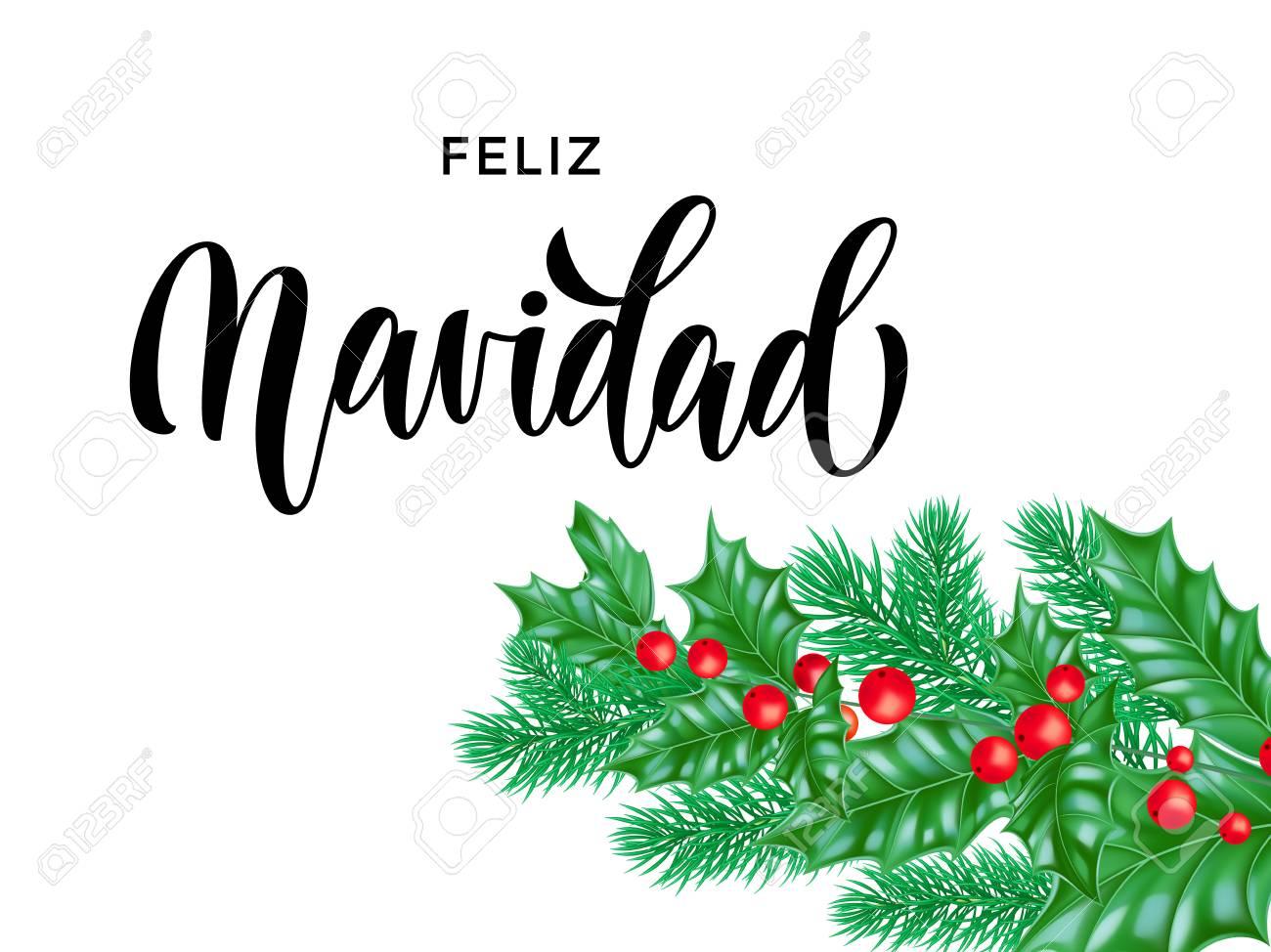 Feliz Navidad Spanish Merry Christmas Calligraphy Font On White Premium Background For Winter Xmas Holiday Design