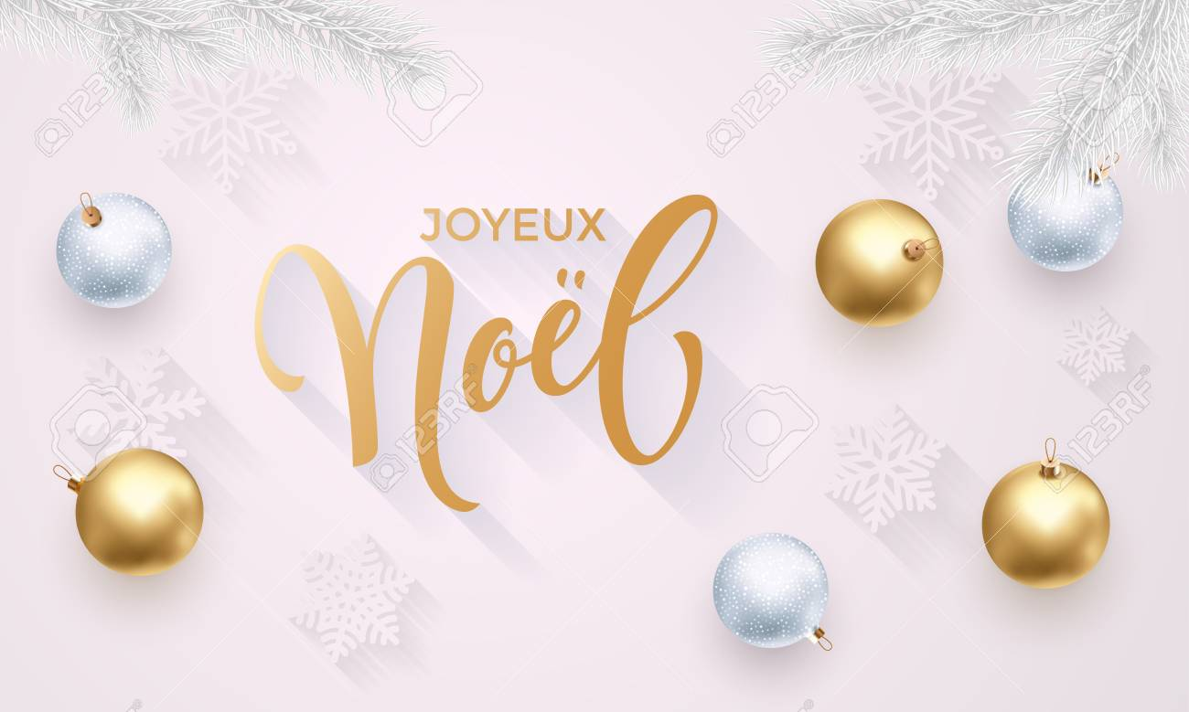 Joyeux Noel French Merry Christmas Holiday Golden Decoration ...