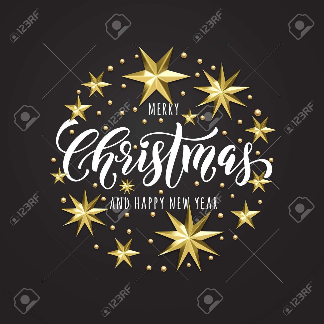 merry christmas or happy new year golden star decoration hand drawn calligraphy font for invitation