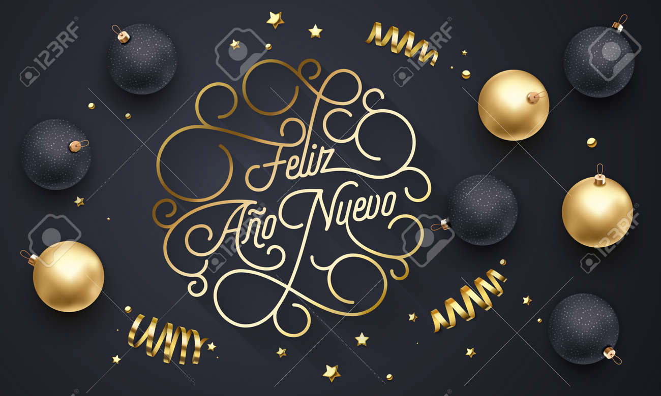 feliz ano nuevo spanish happy new year navidad flourish golden calligraphy lettering of swash gold greeting