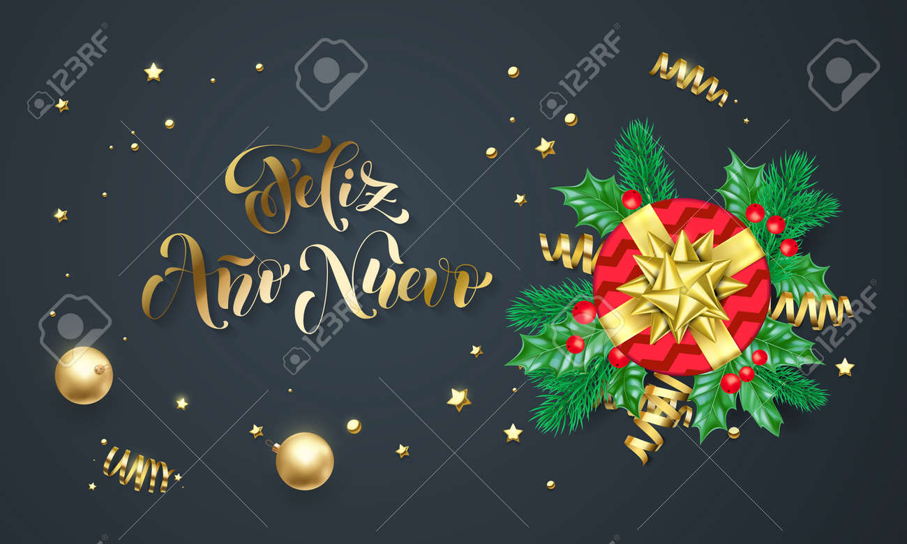 feliz ano nuevo spanish happy new year golden decoration and gold font calligraphy greeting card design