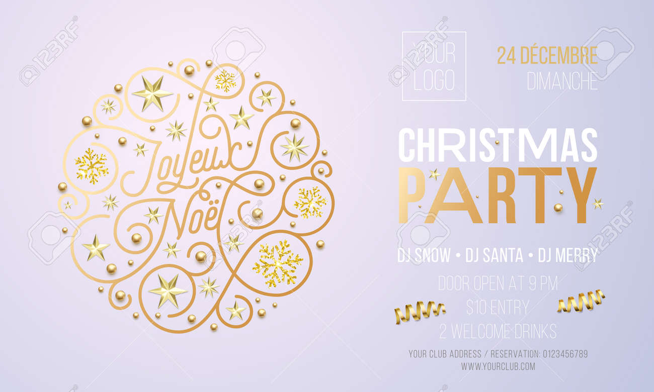Christmas party invitation for french joyeux noel holiday christmas party invitation for french joyeux noel holiday celebration design template vector new year or stopboris Choice Image