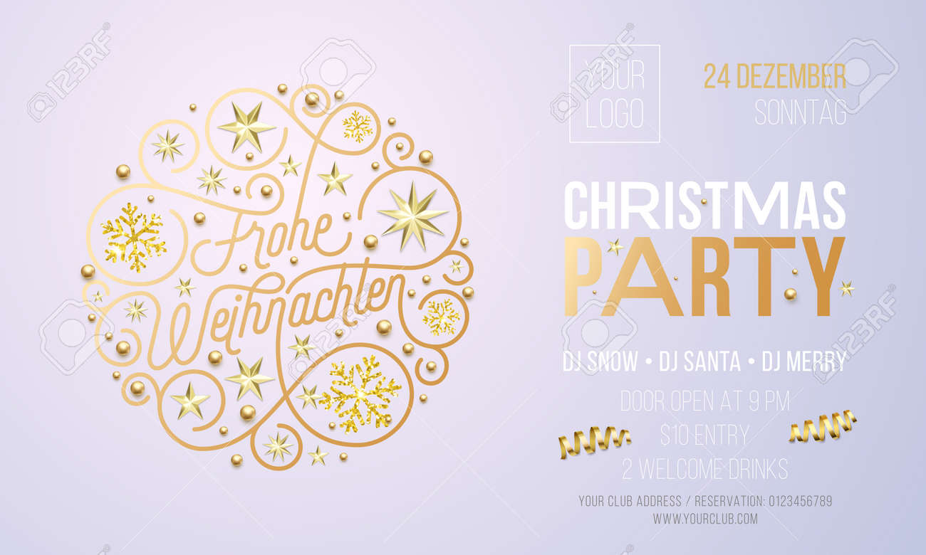 Christmas Party Invitation For German Frohe Weihnachten Holiday ...